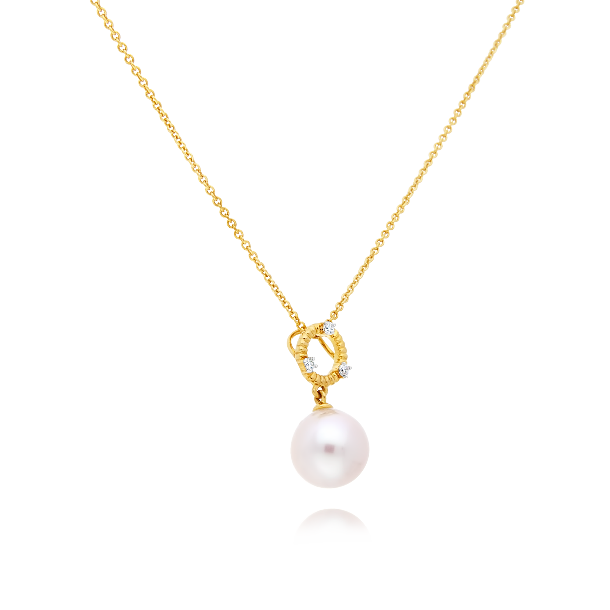 Gold Pearl and Diamond Circle Pendant