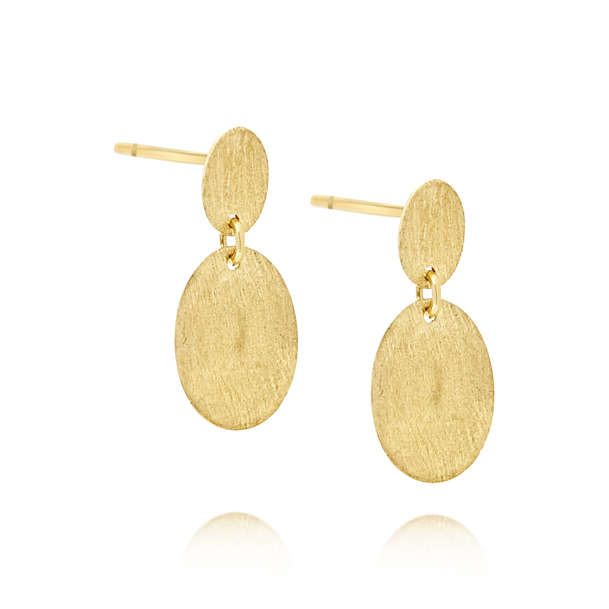 9ct Gold Matte Disc Earrings Small