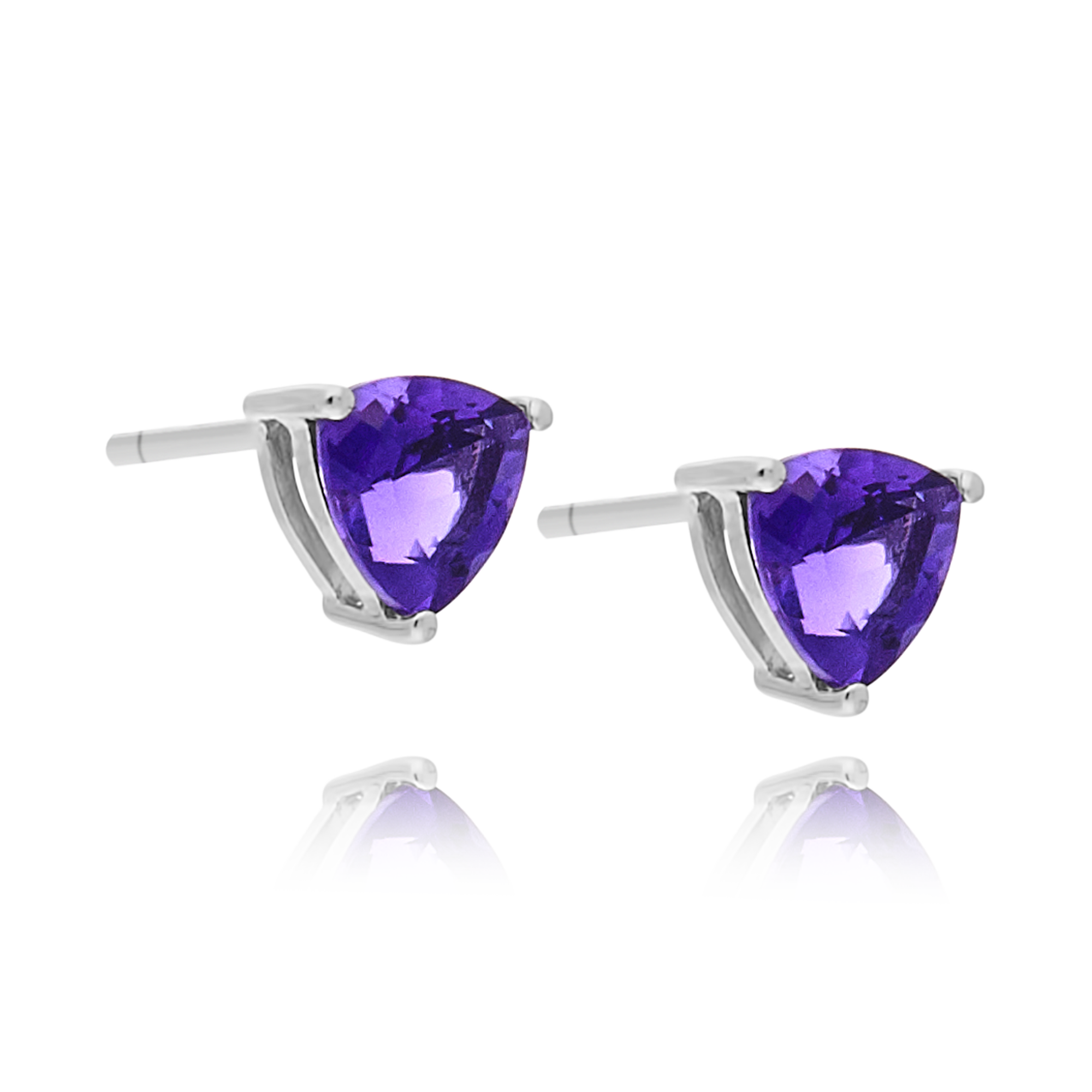 White Gold Amethyst Studs