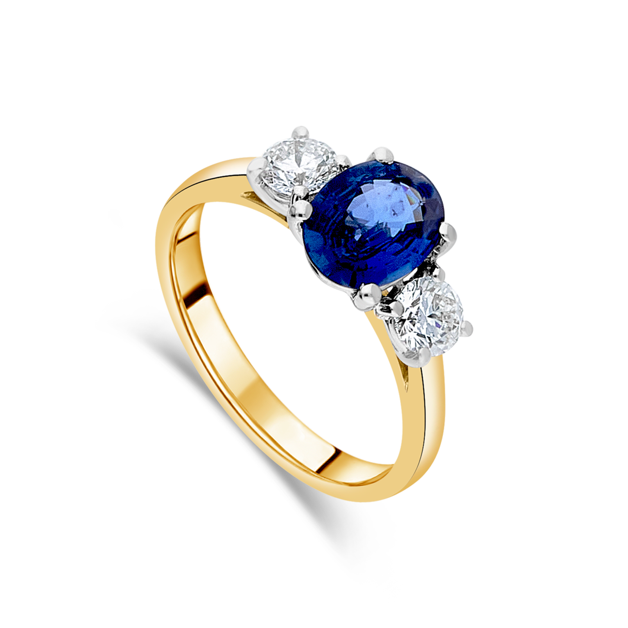 "The ""Tulip"" with Sapphire and Diamond, Yellow Gold"