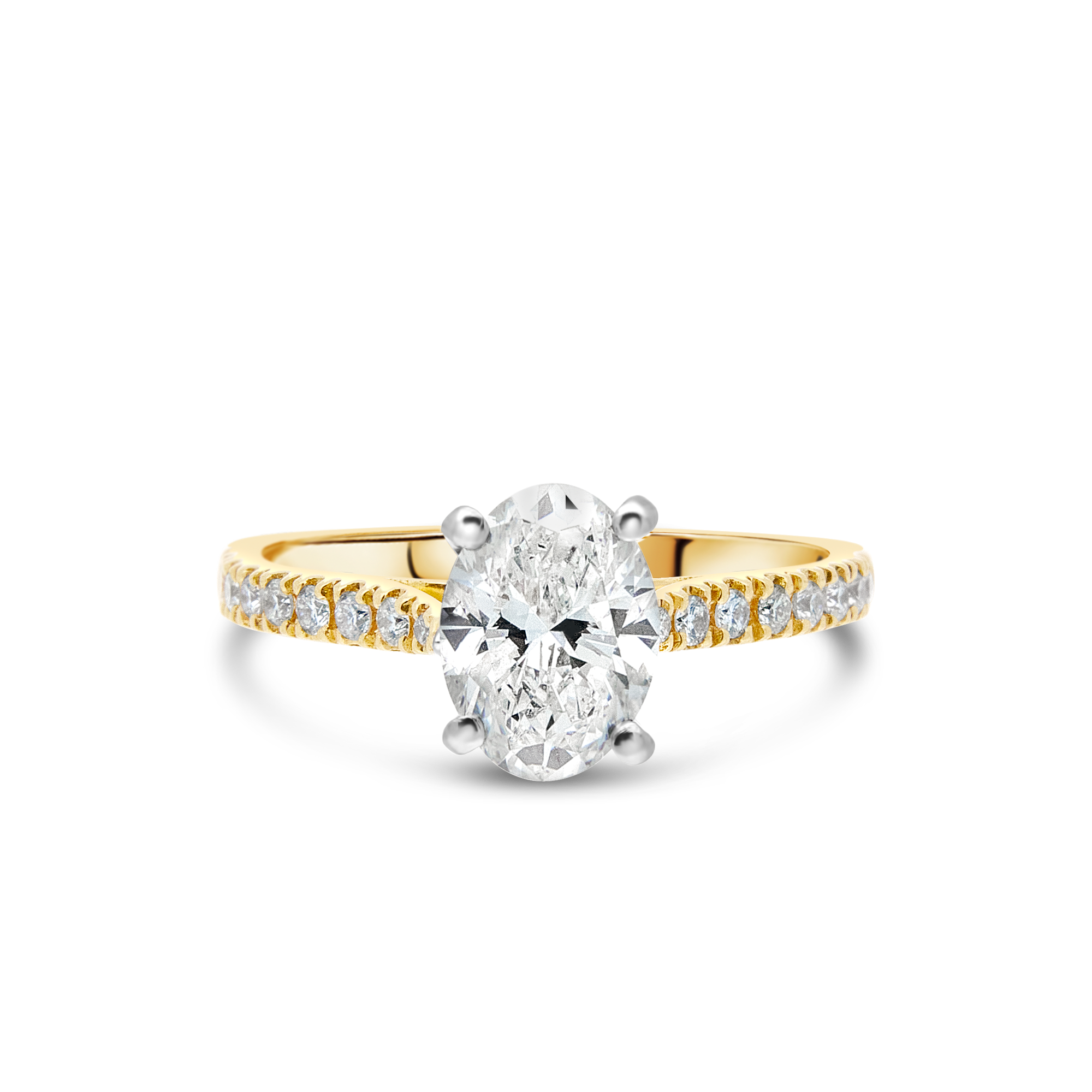 "The ""J'adore"" Oval Diamond with Pavé Band Yellow Gold, 1.50ct total"