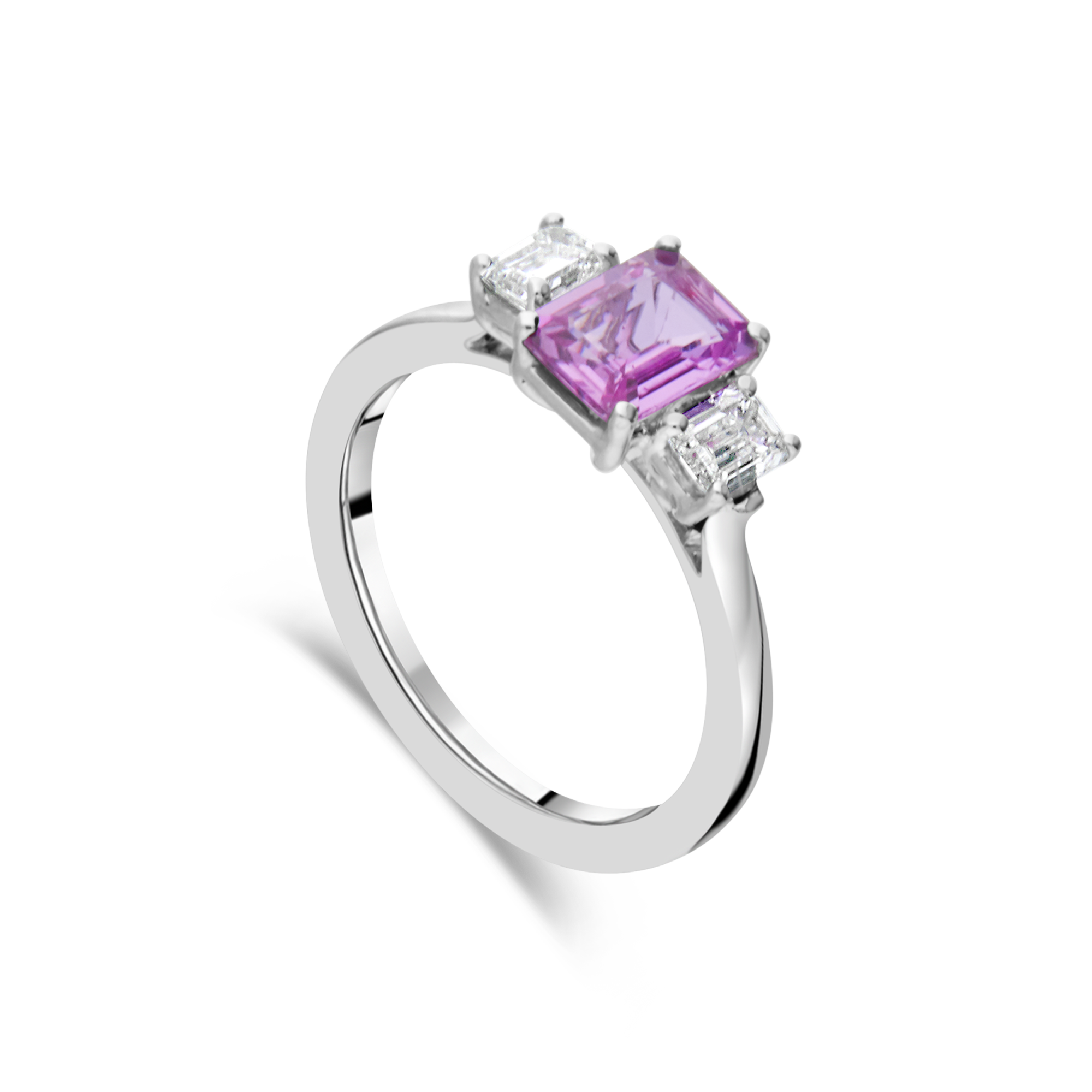 Pink Sapphire and Diamond Trilogy, White Gold