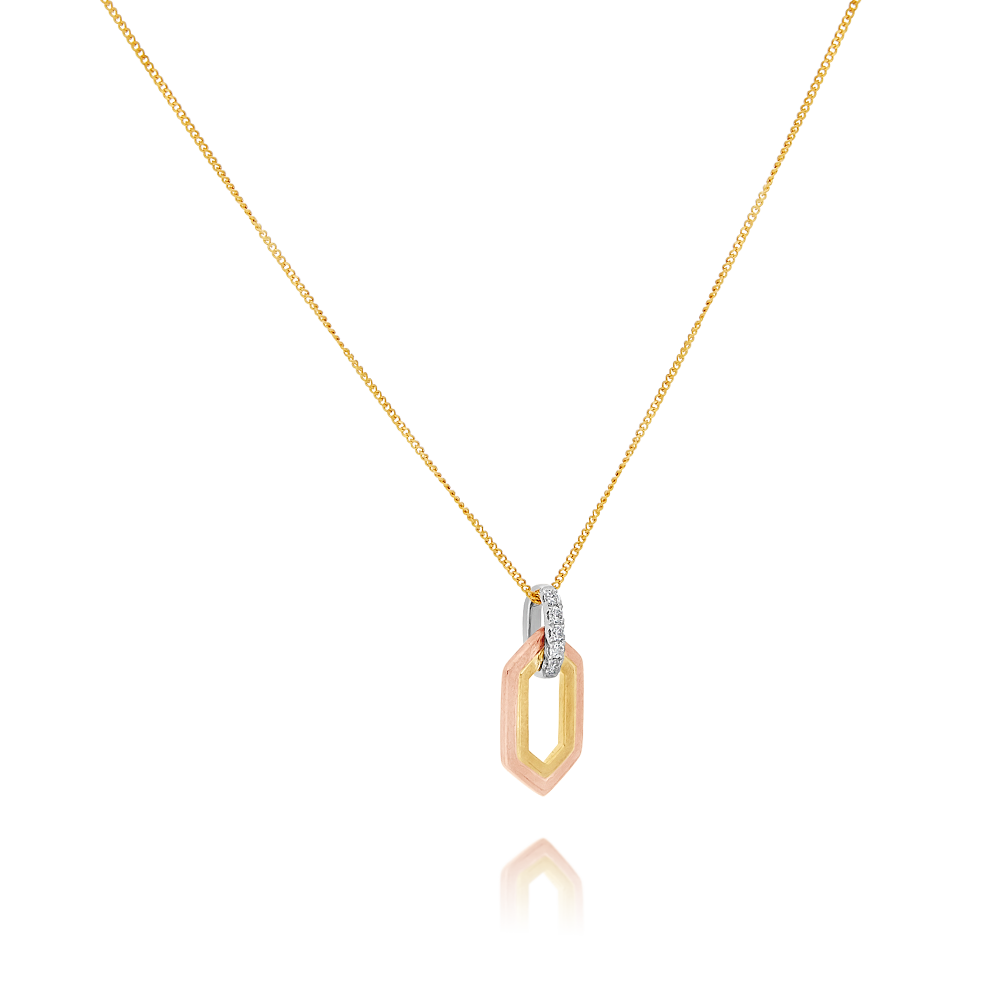 9ct Yellow and Rose Gold Diamond Pendant