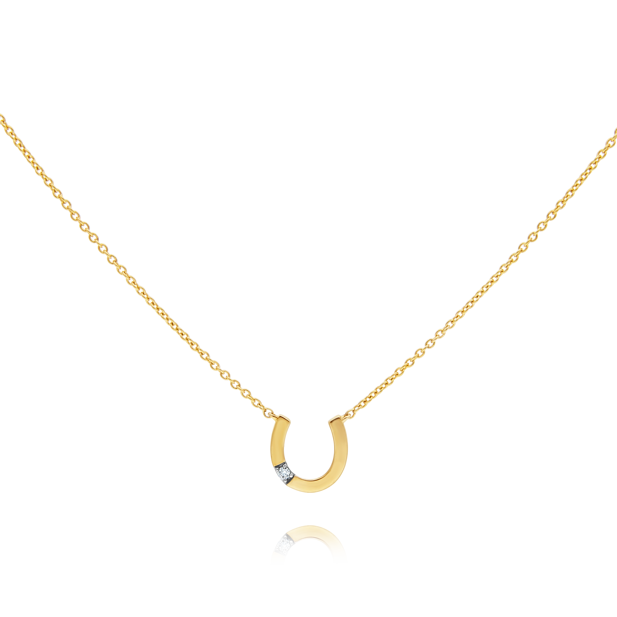 Gold and Diamond Horseshoe Pendant