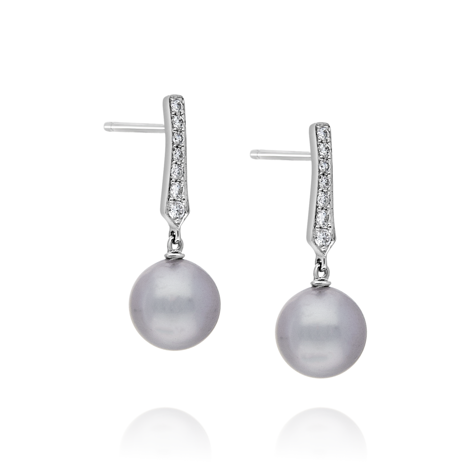 18ct Tahitian Pearl and Diamond Earrings