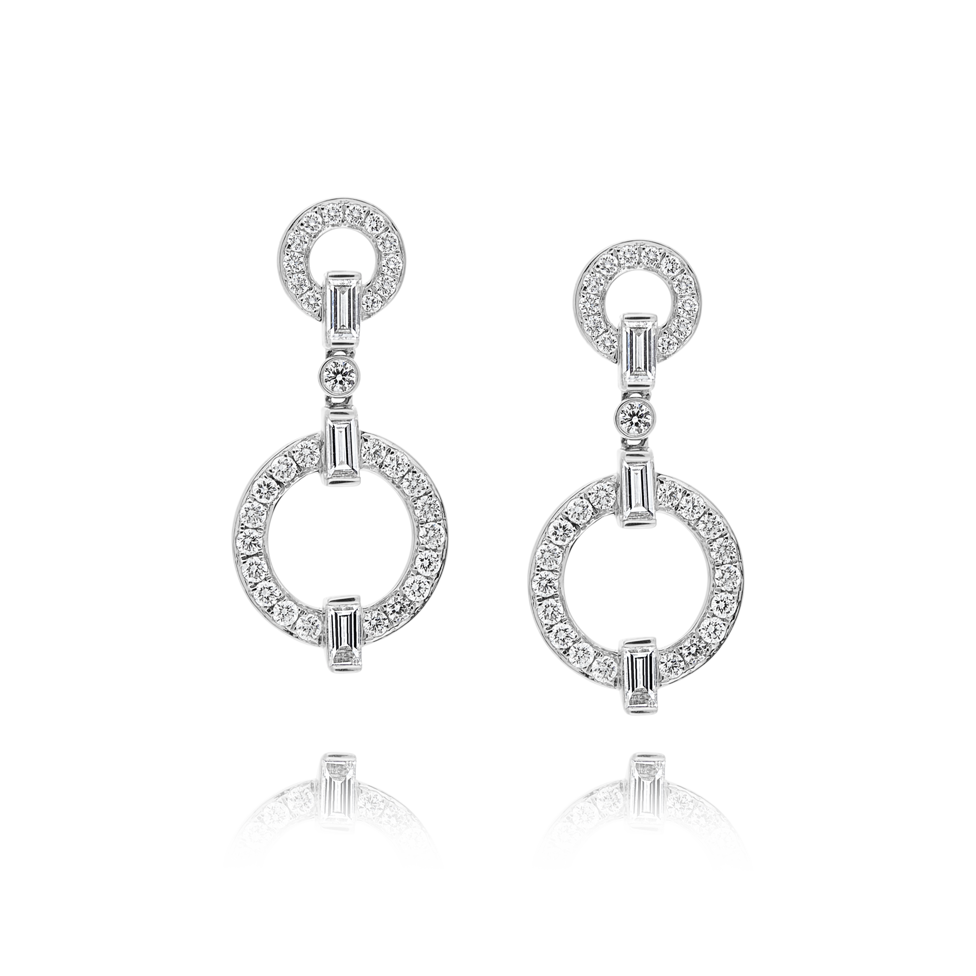 18ct White Gold Drop Diamond Earrings