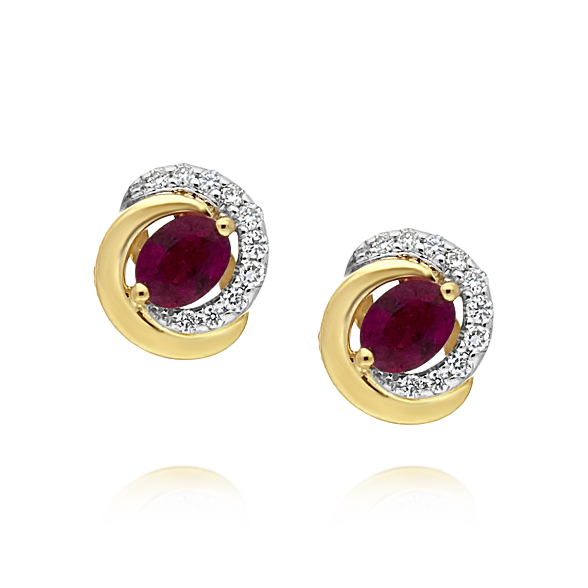 Ruby and Diamond Earrings, Yellow Gold