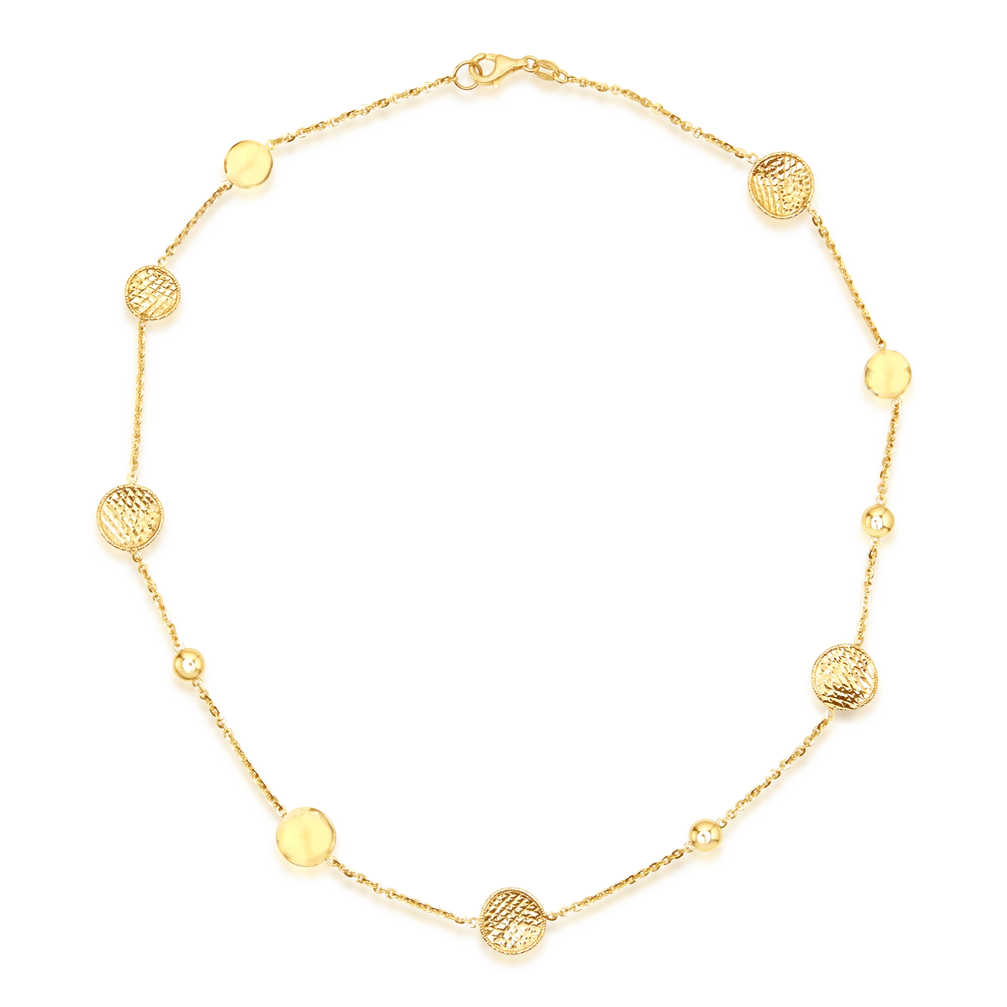 14ct Gold Textured Disc Necklace