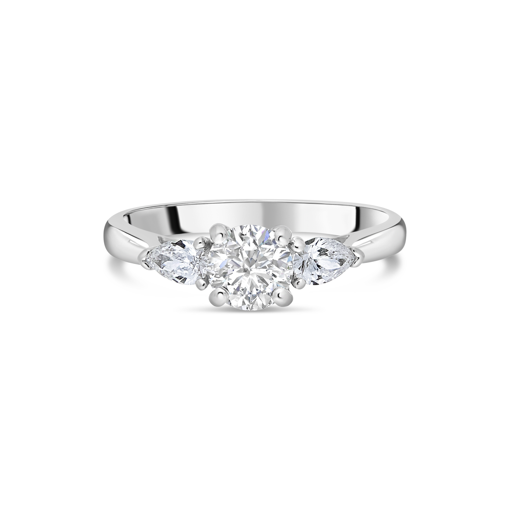 "The ""Tranquility"" with Round Brilliant, Platinum, 1.01ct total"