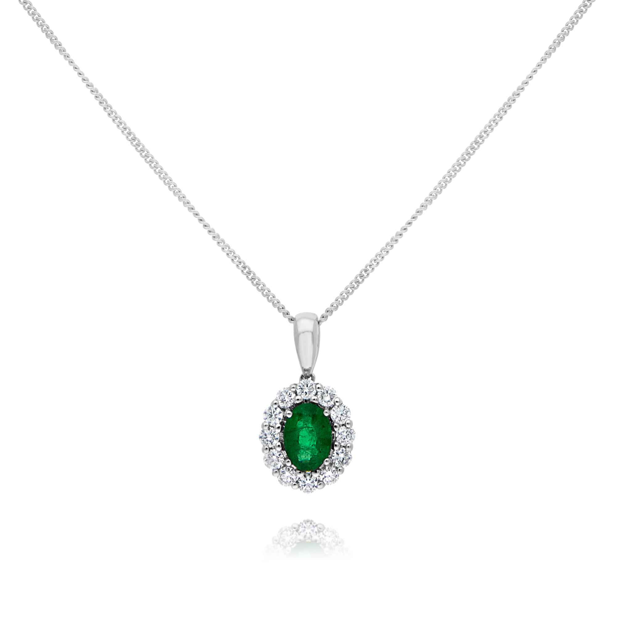 18ct Gold Emerald and Diamond Pendant
