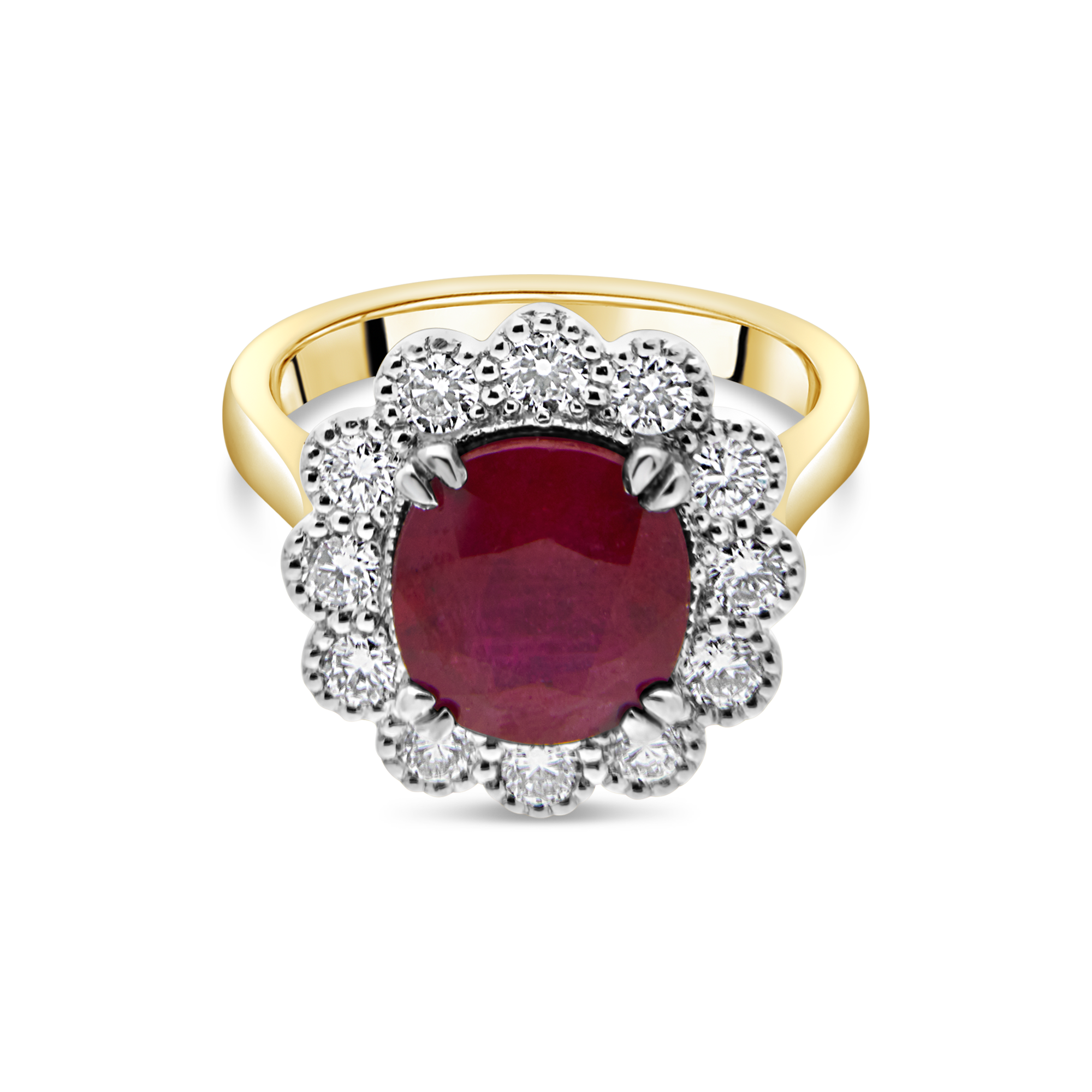 "The ""Kate Flower"" Ruby and Diamond, Yellow Gold"