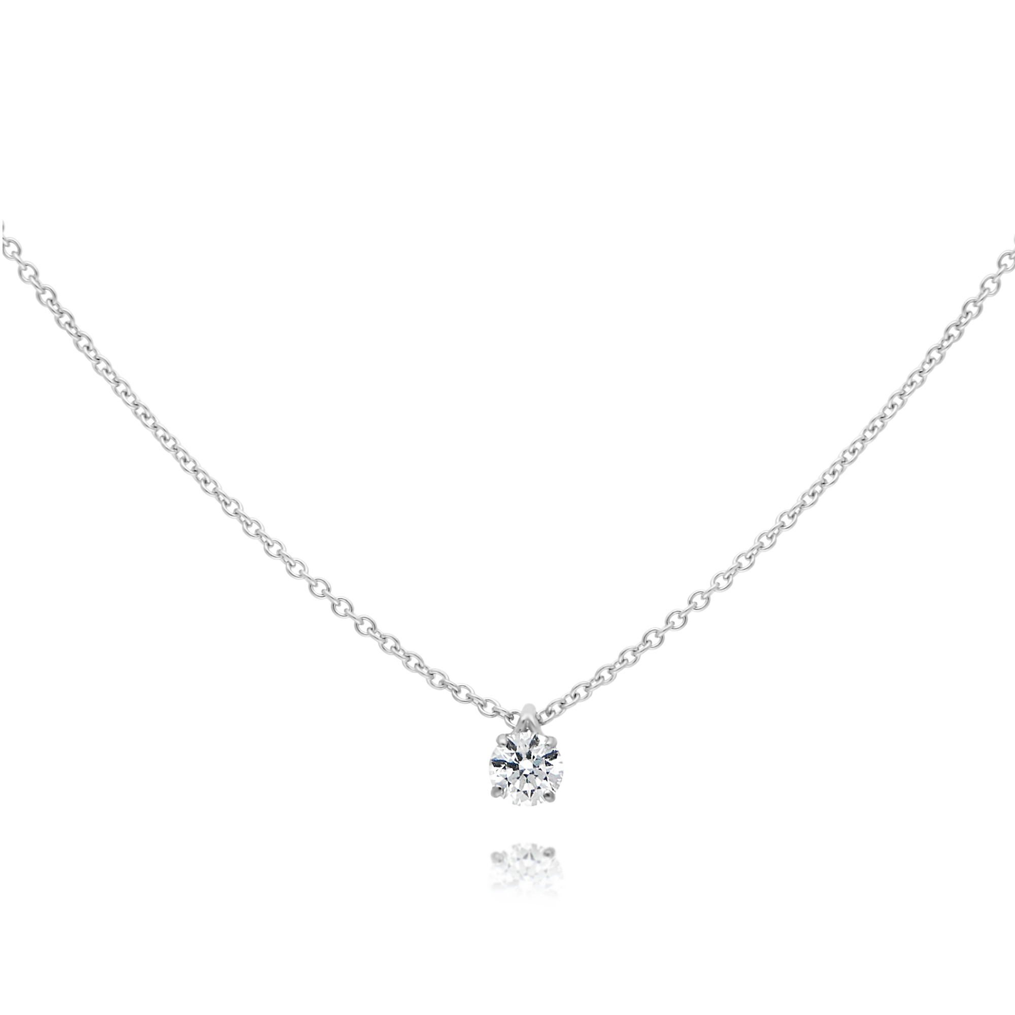18ct White Gold Solitaire Diamond Pendant