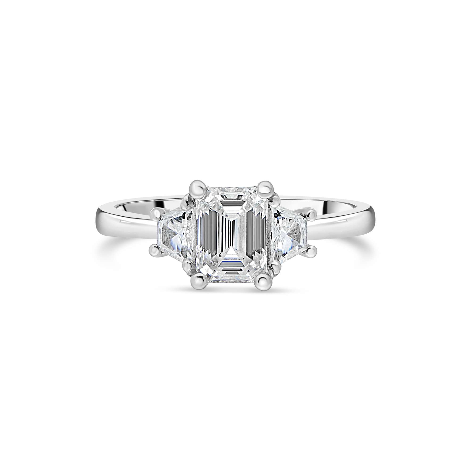 "The ""Tranquility"" with Emerald Cut Diamond Platinum"
