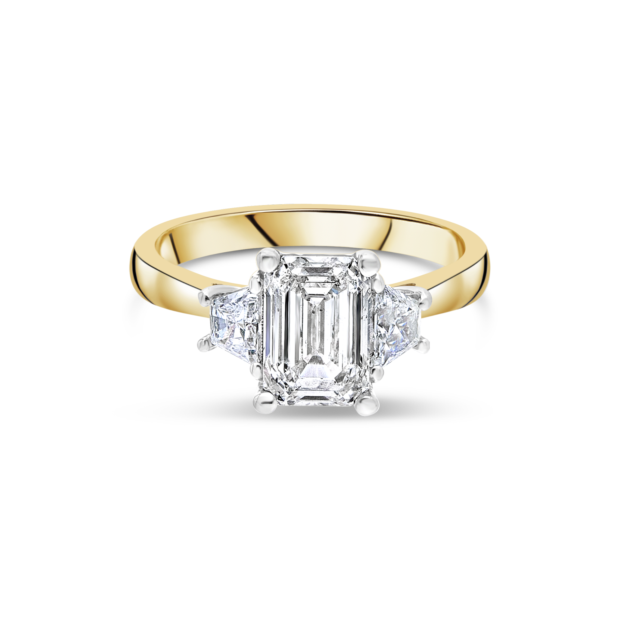 "The ""Tranquility"" with Emerald Cut, Yellow Gold"