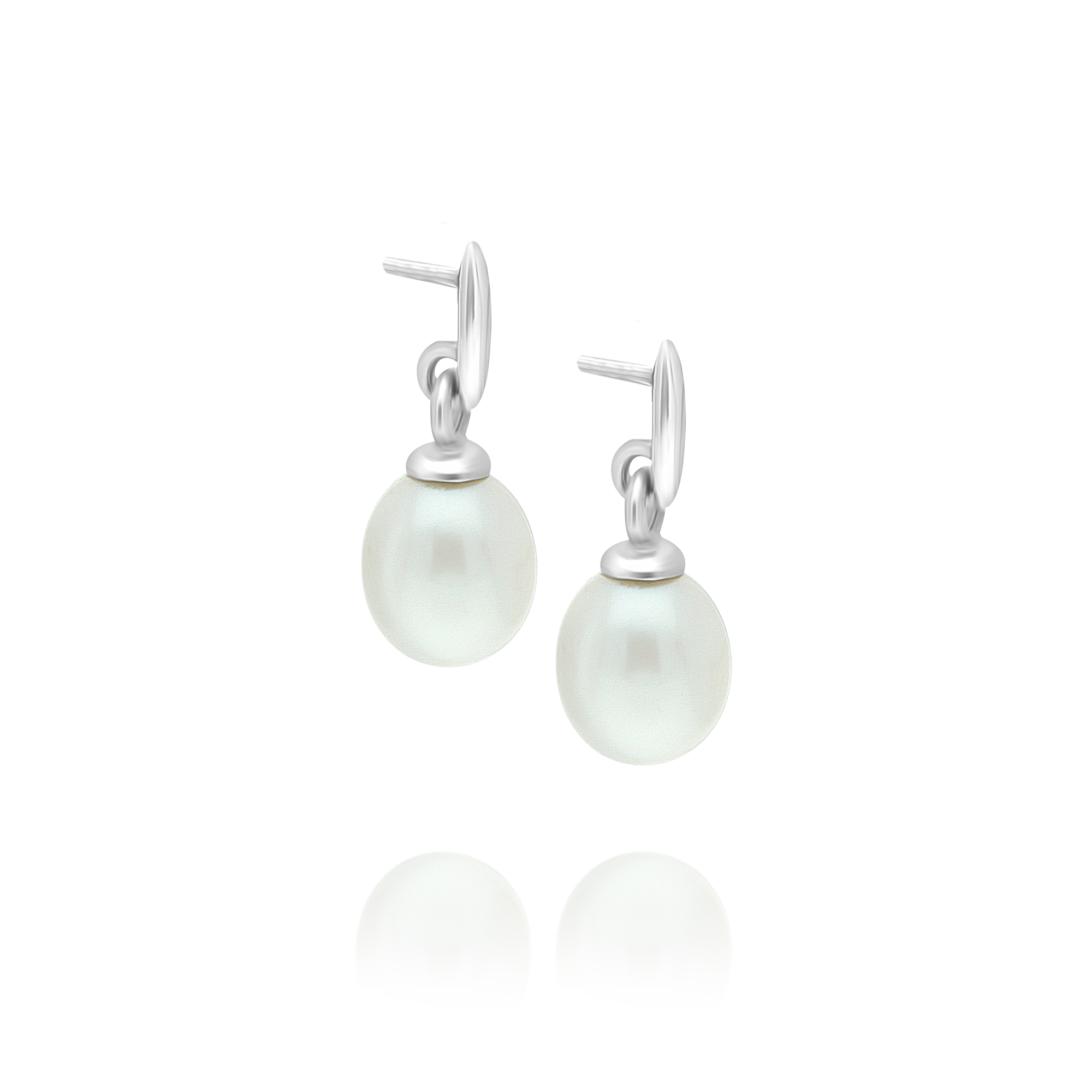 Pearl Drop Earrings White Gold