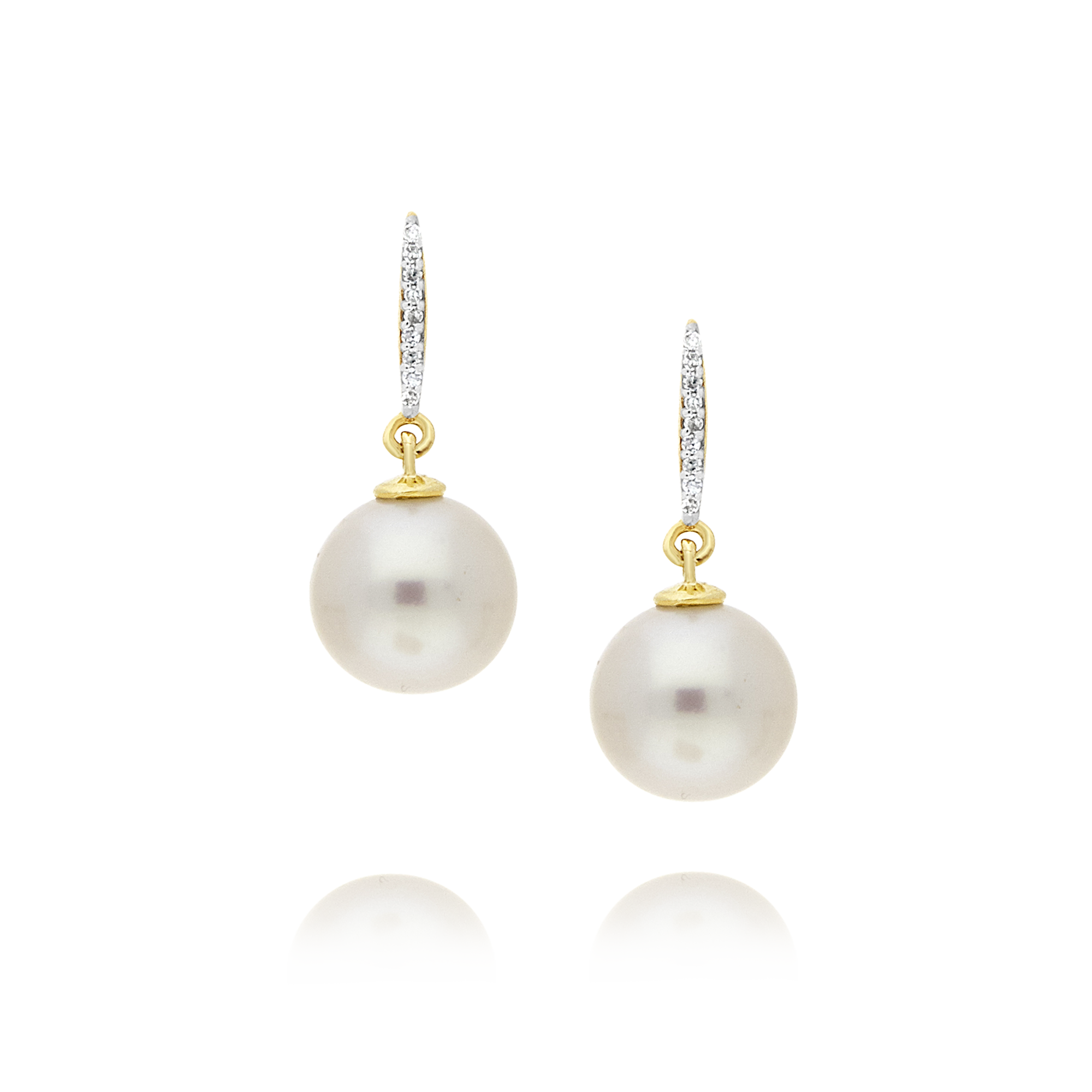 Pearl and Diamond Drop Earrings, Yellow Gold