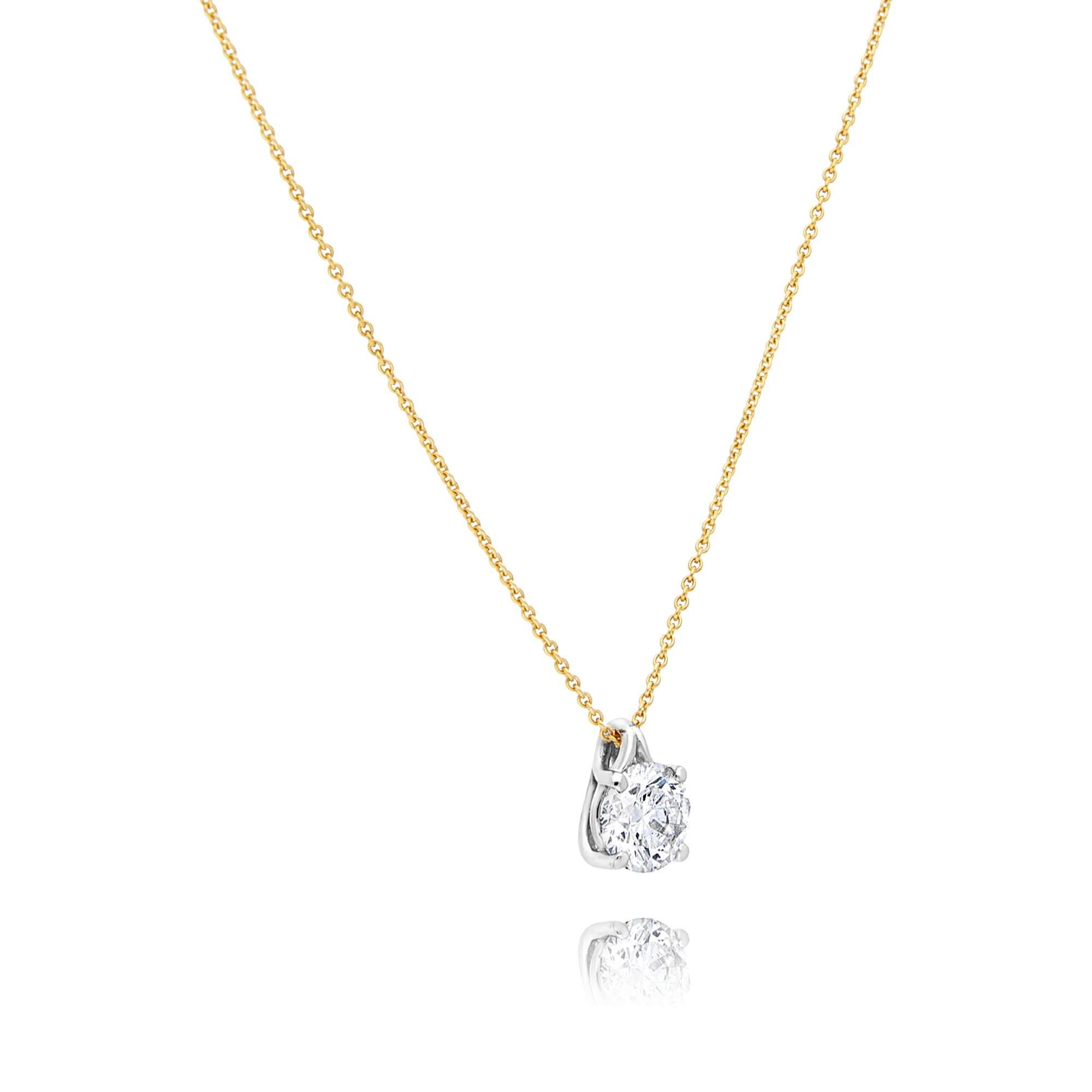 18ct Yellow Gold Solitaire Diamond Pendant
