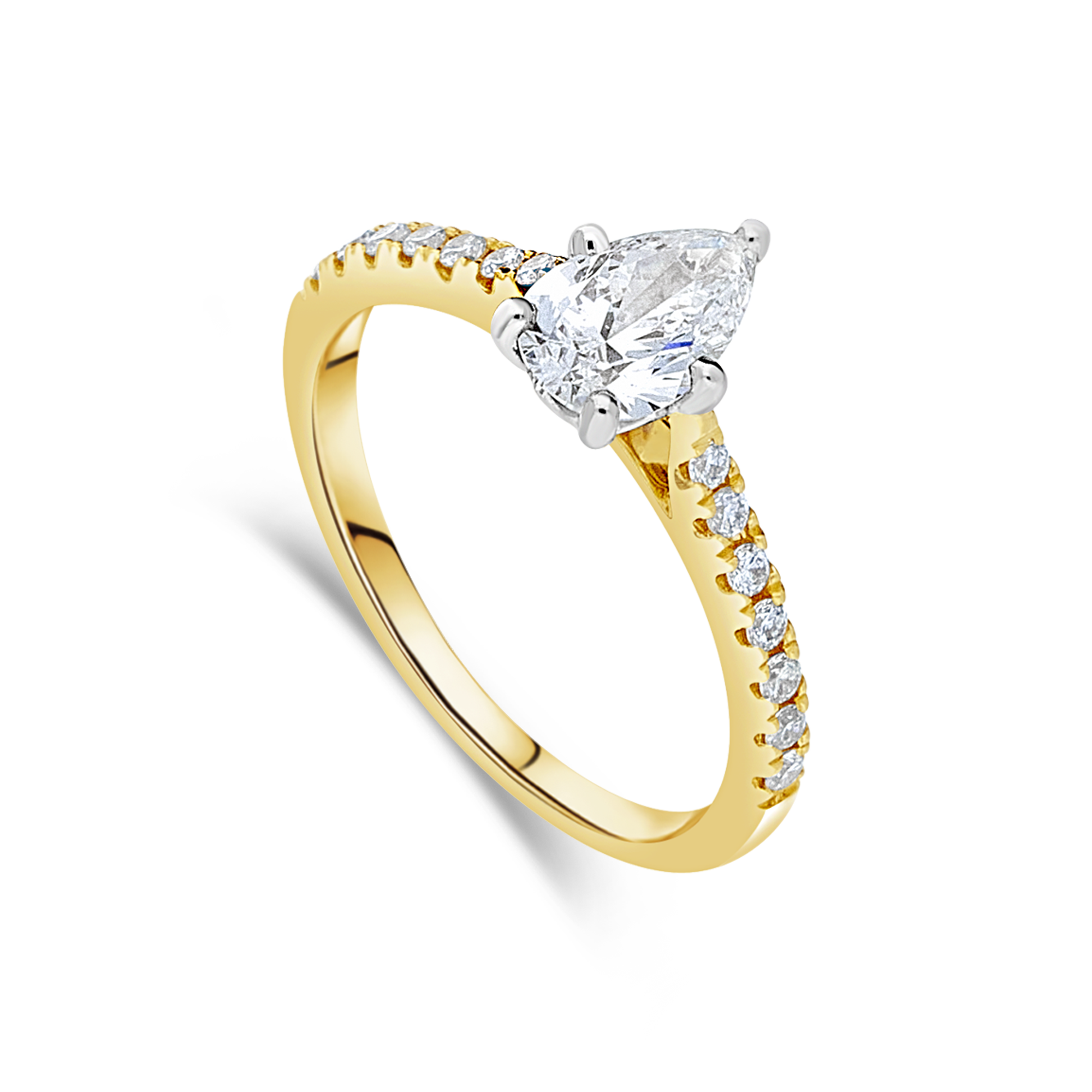 "The ""J'adore"" with Pear-Cut Diamond and Pavé Diamond Band"