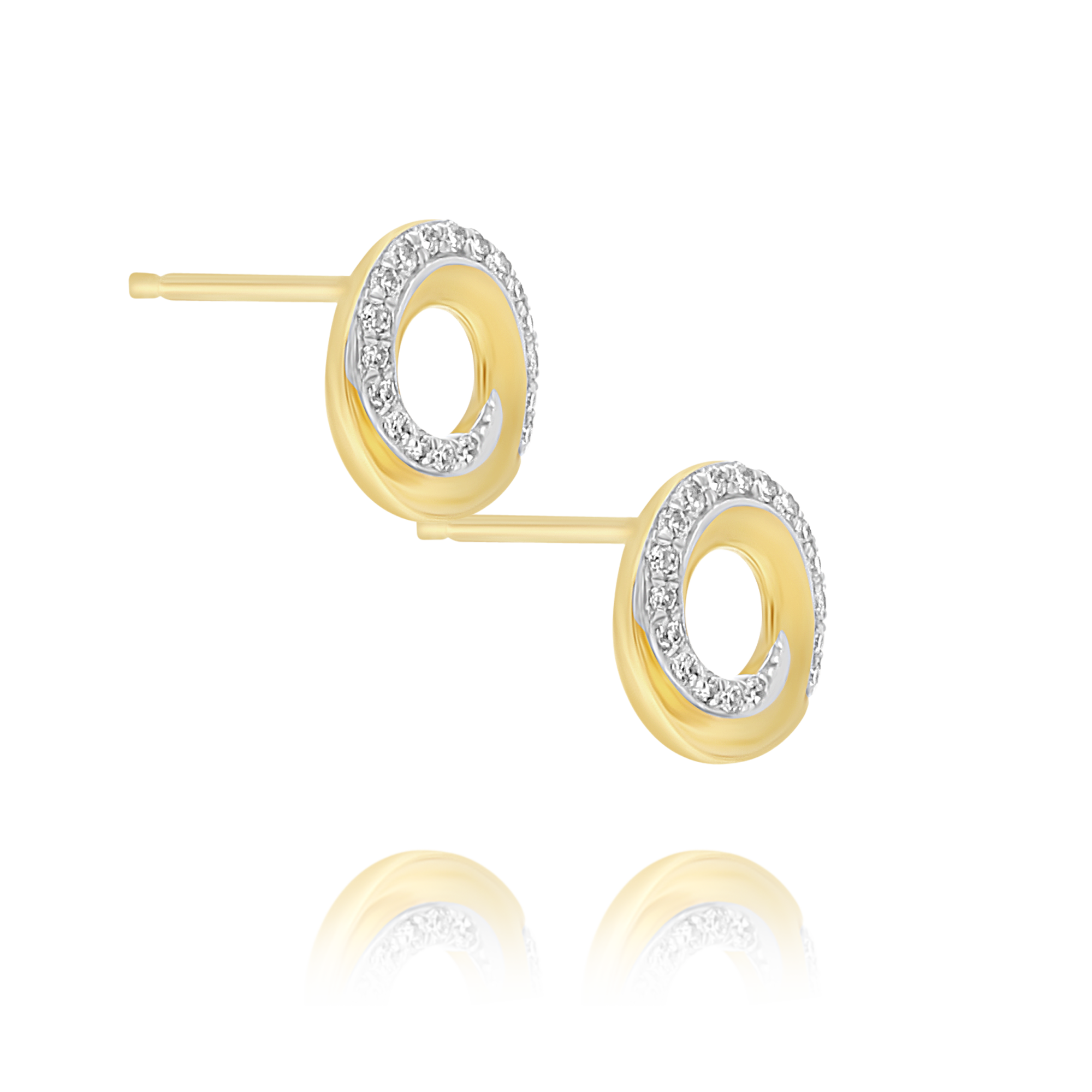 Gold and Diamond Twist Circle Earrings