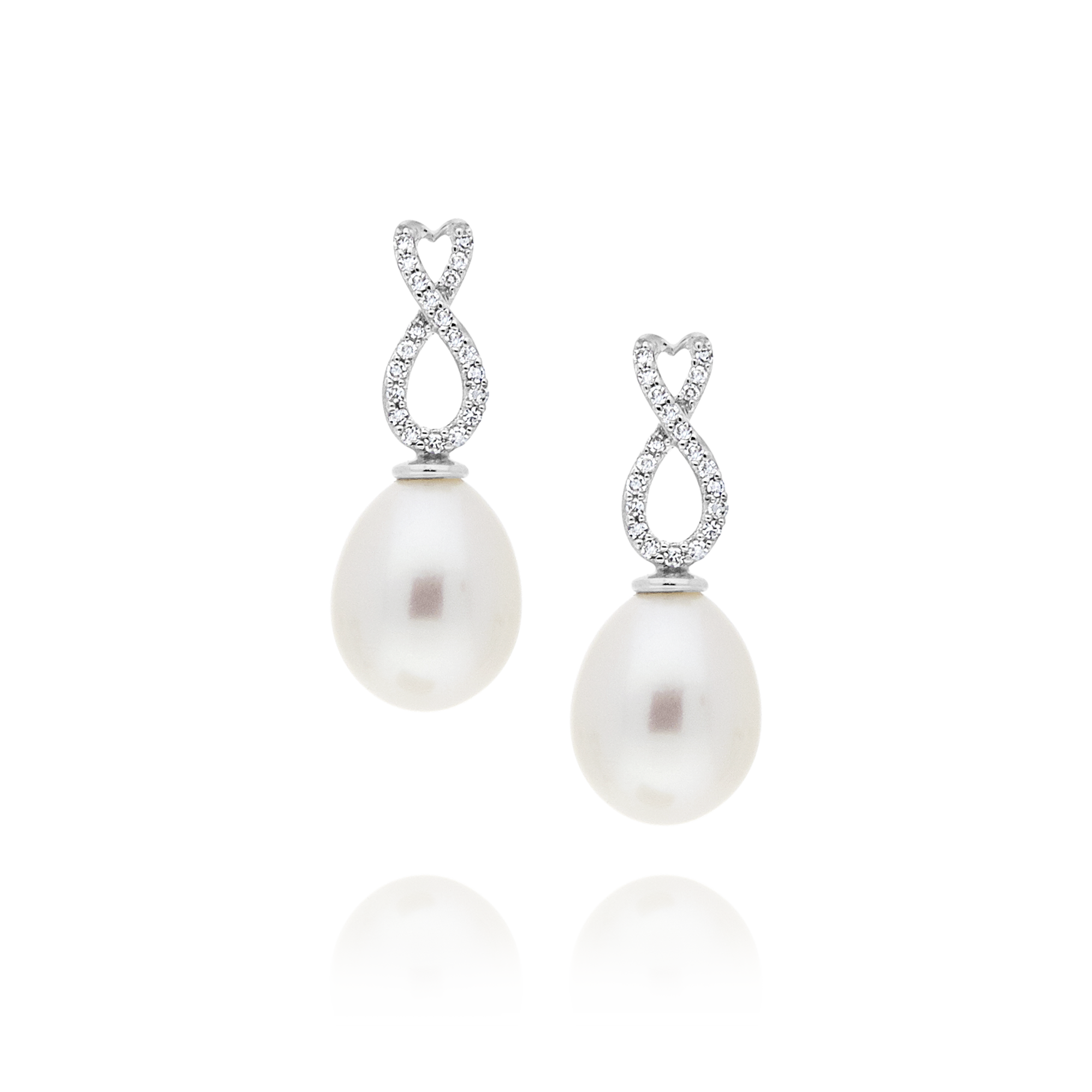 Pearl and Diamond Bow Drop Earrings