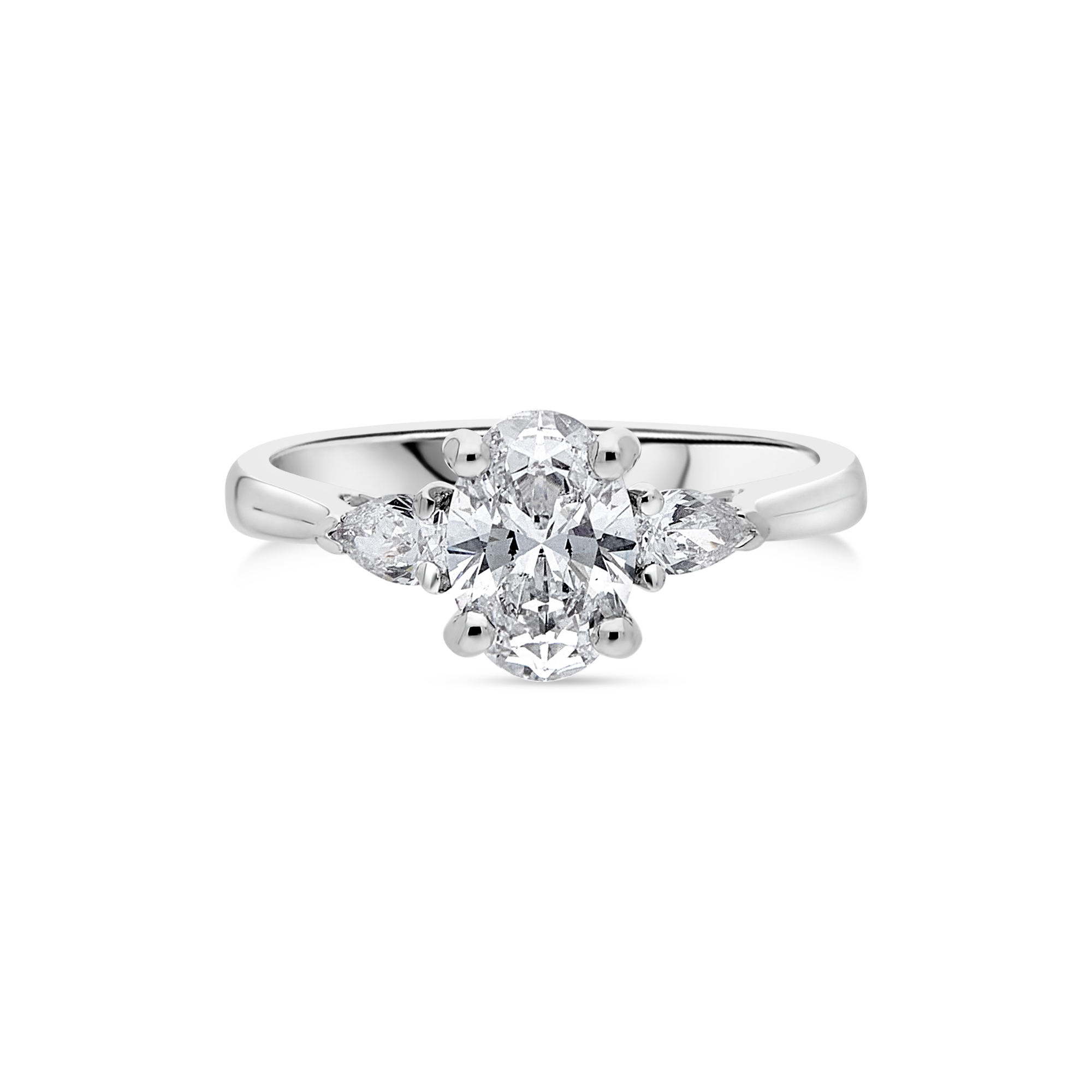 "The ""Tranquility"" with Oval Diamond Platinum, 1.28ct total"