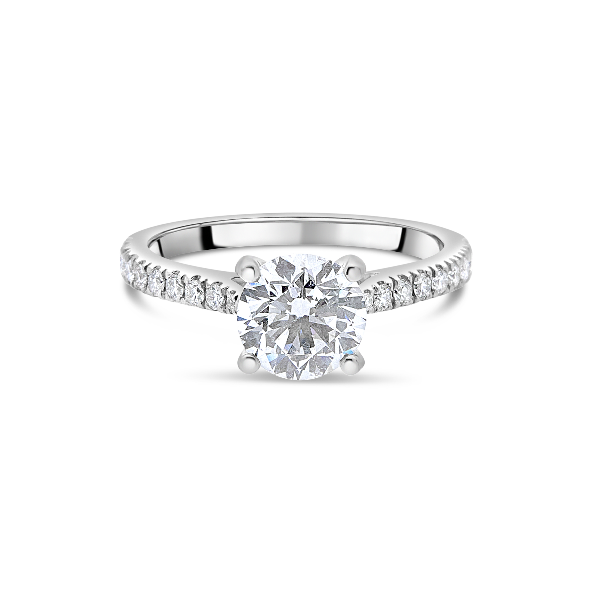 "The ""J'adore"" with Round Brilliant and Pavé Diamond Band"