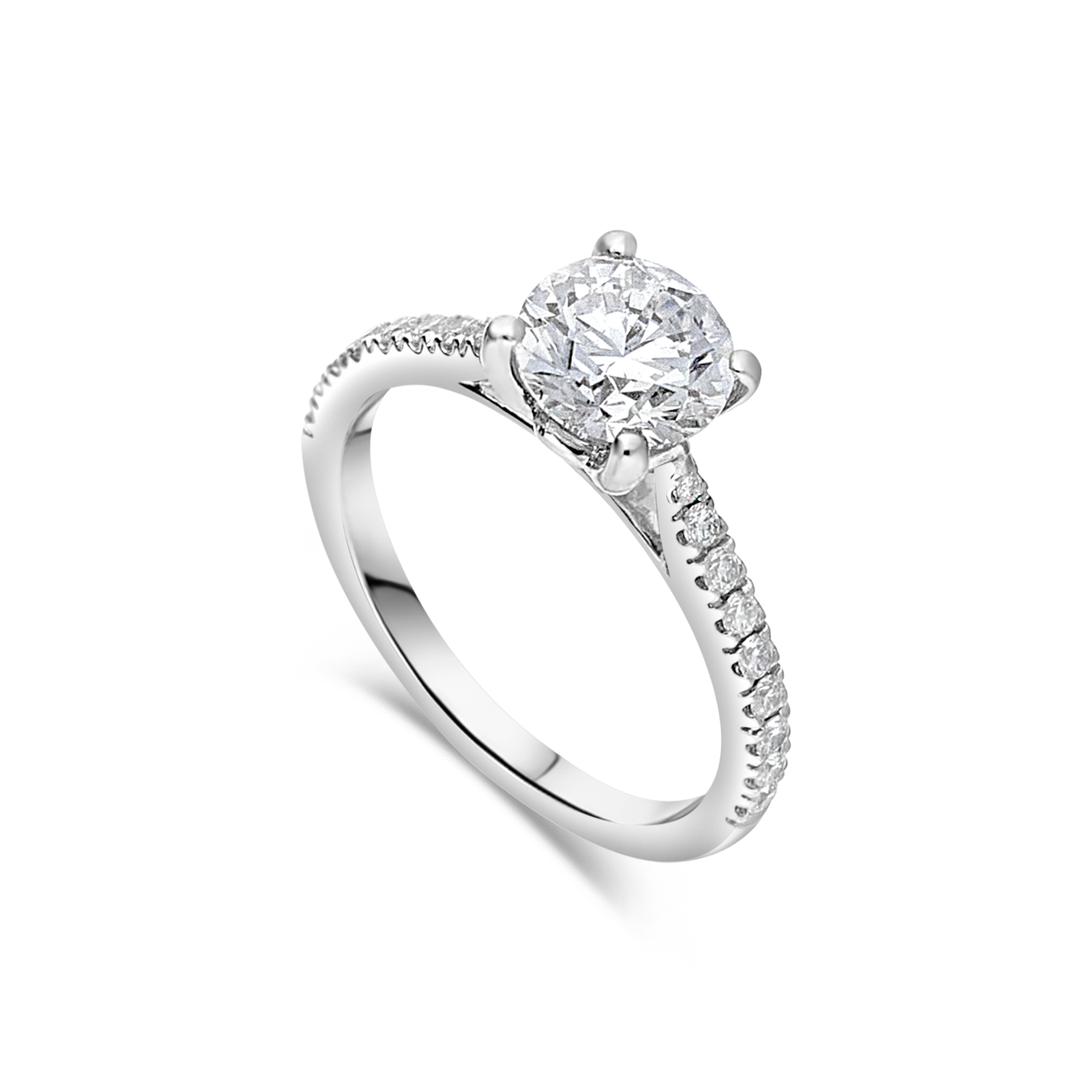 "The ""J'adore"" with Round Brilliant and Pavé Diamond Band, 1.20ct total"