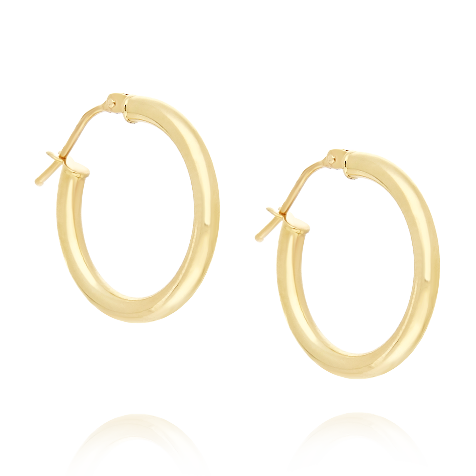 9ct Gold 15mm Hoop Earrings