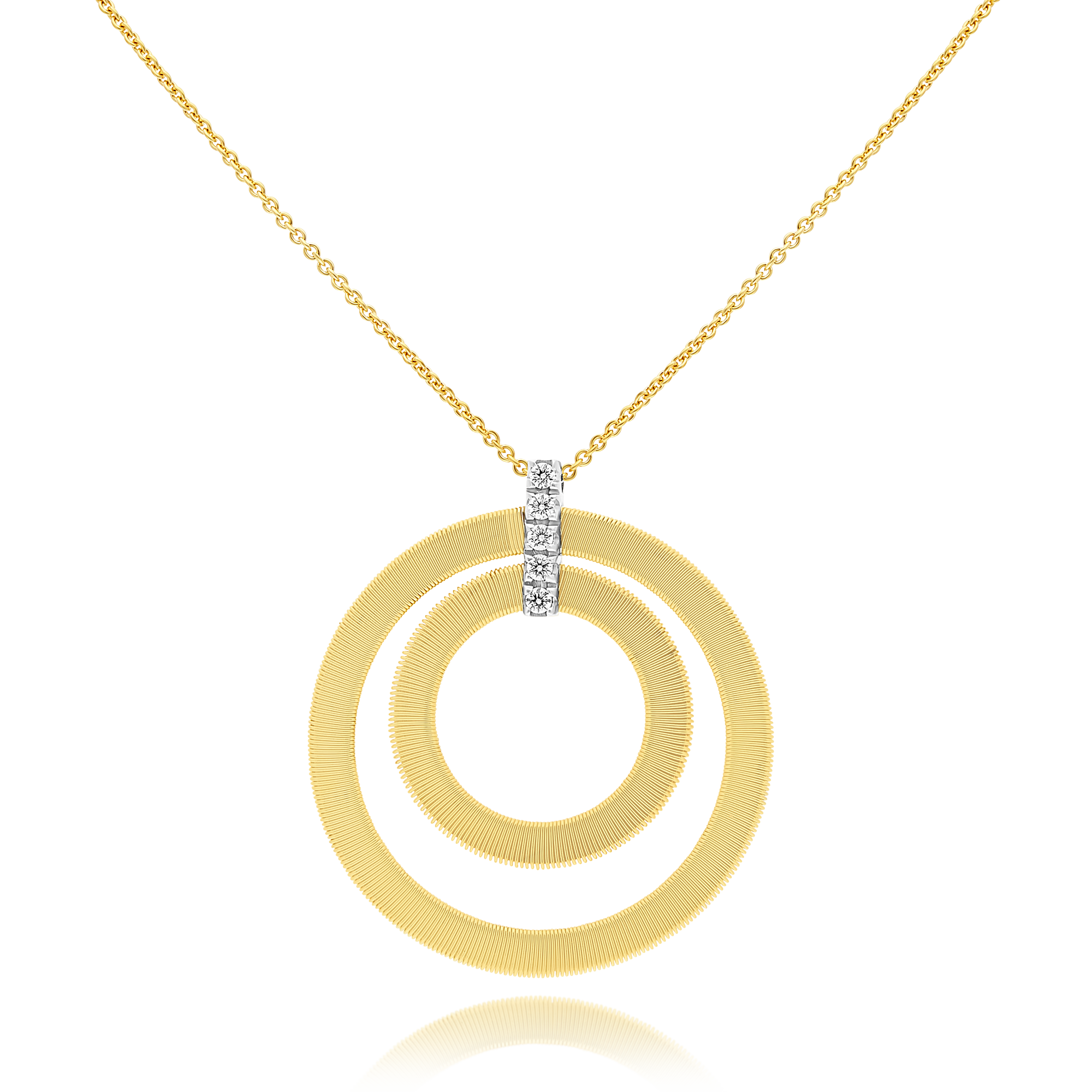 "18ct Gold and Diamond Double Circle ""Masai"" Pendant Marco Bicego"