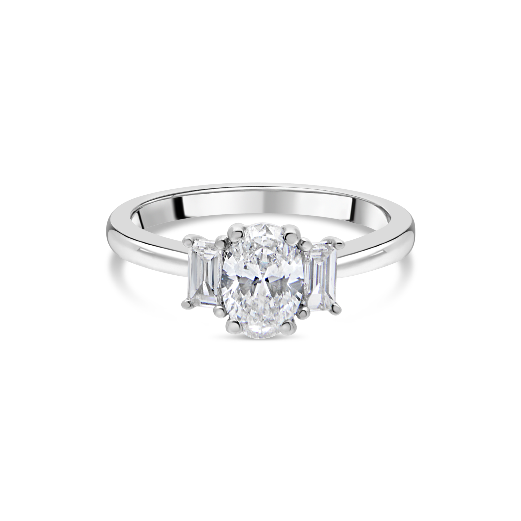 "The ""Tulip"" with Oval Diamond and Baguettes, Platinum"
