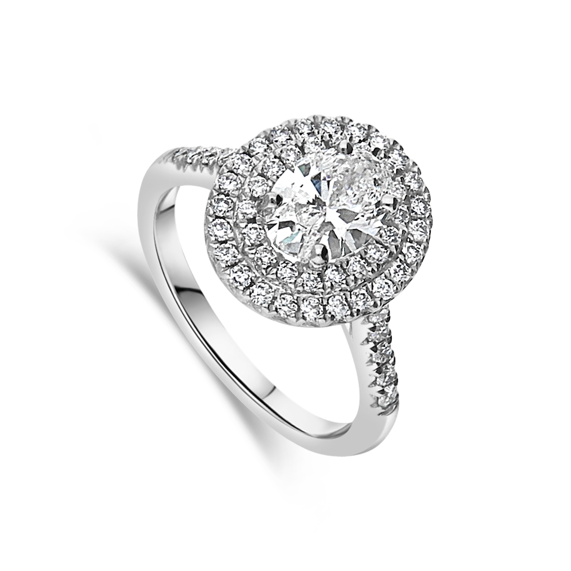 "The ""Grand Corinne"" Oval Diamond Platinum 1.12ct total"