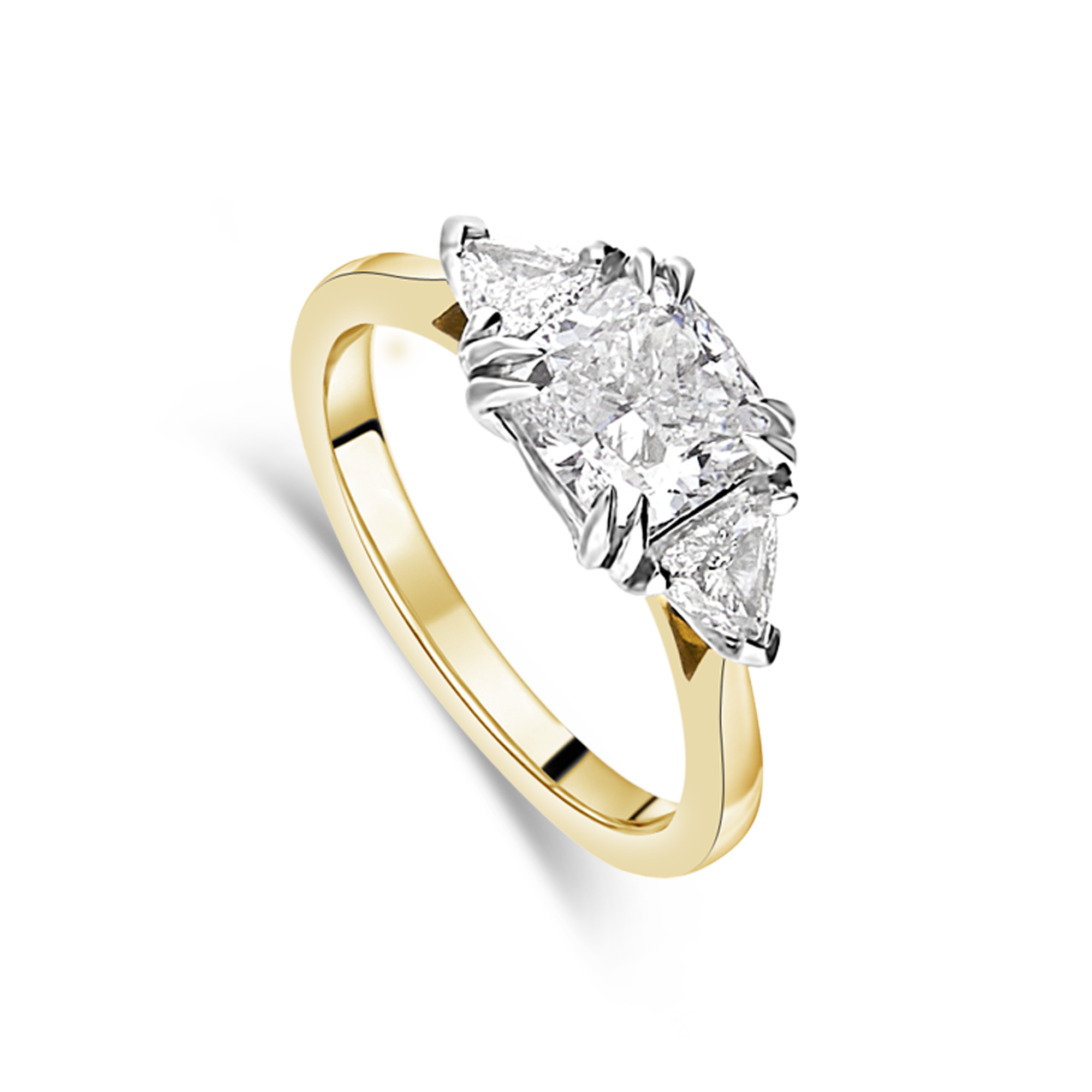 "The ""Tranquility"" with Cushion Cut, Yellow Gold"