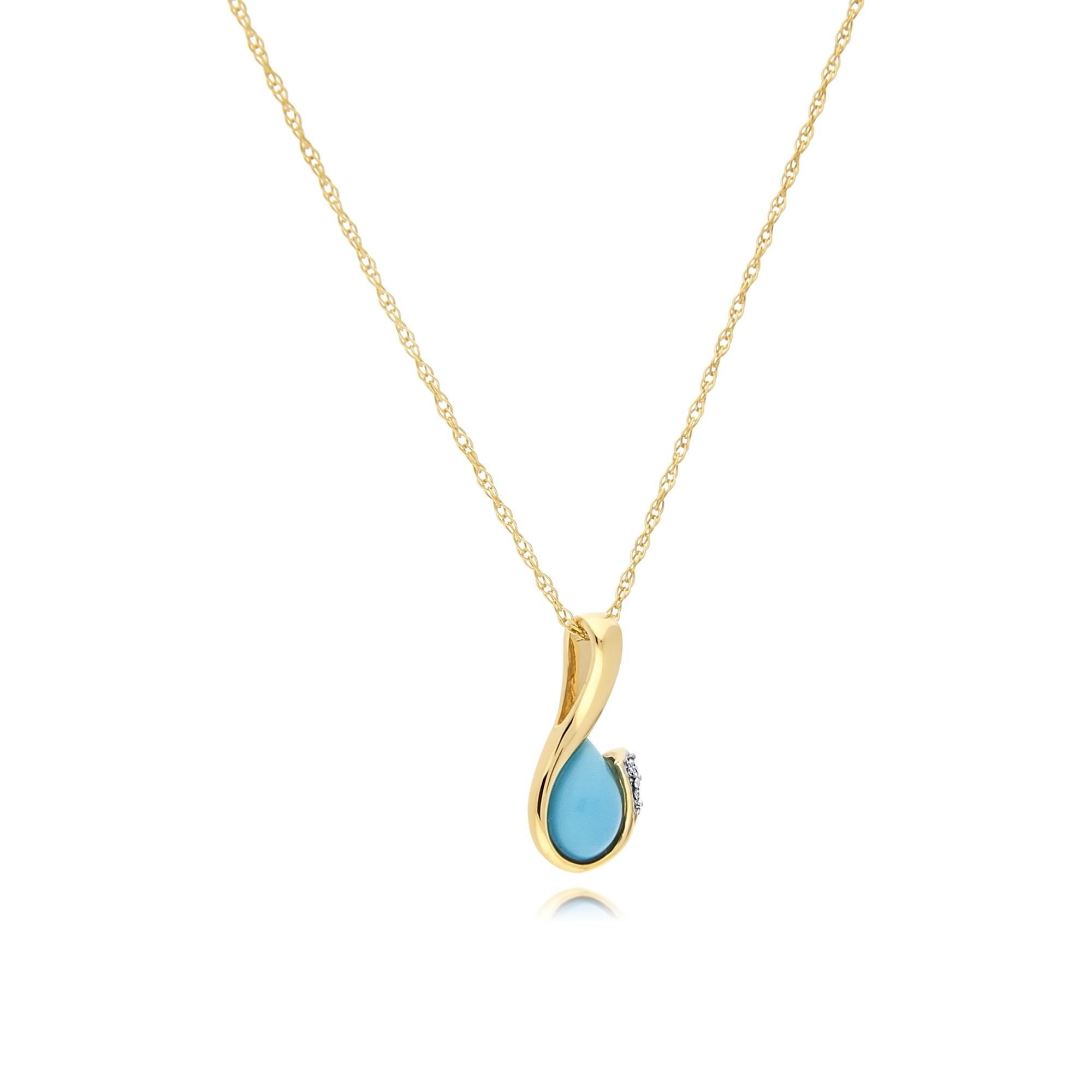 Turquoise and Diamond Gold Pendant