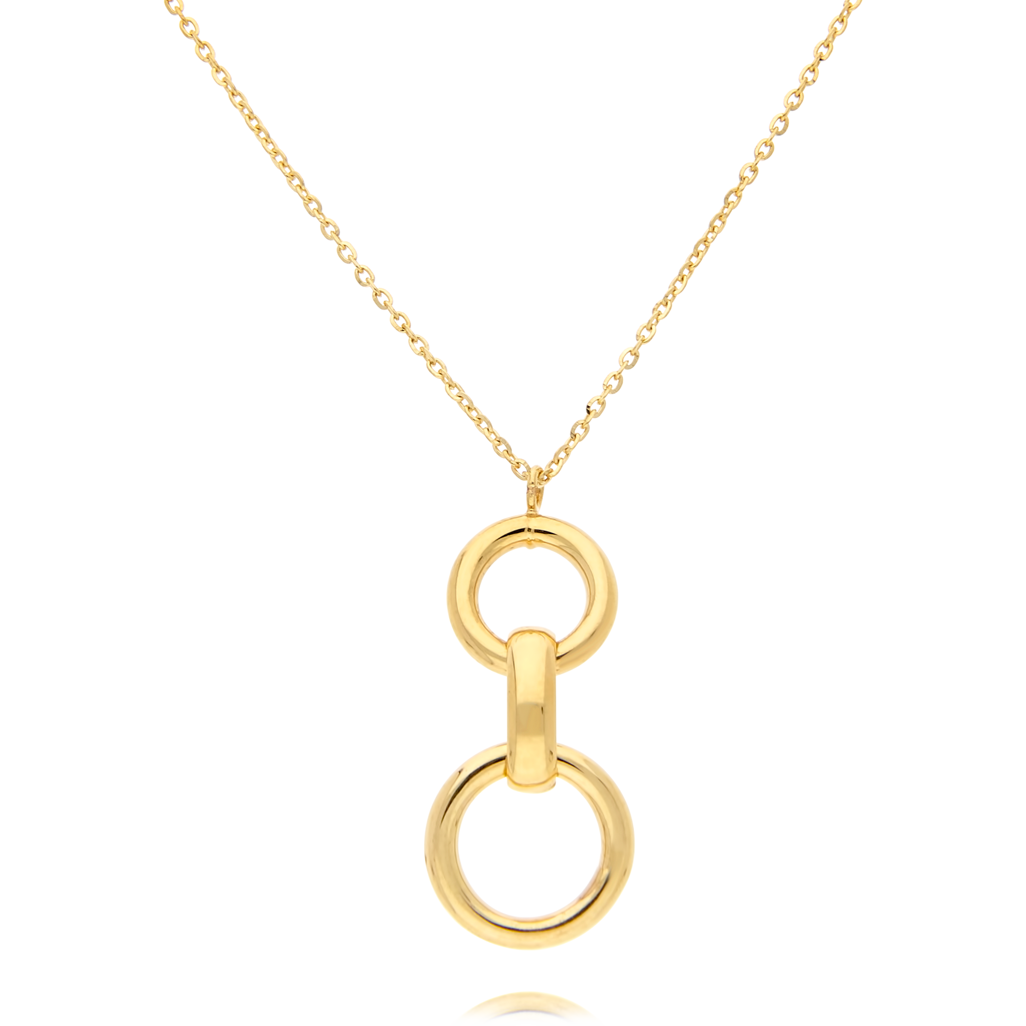 9ct Gold Three Ring Link Pendant