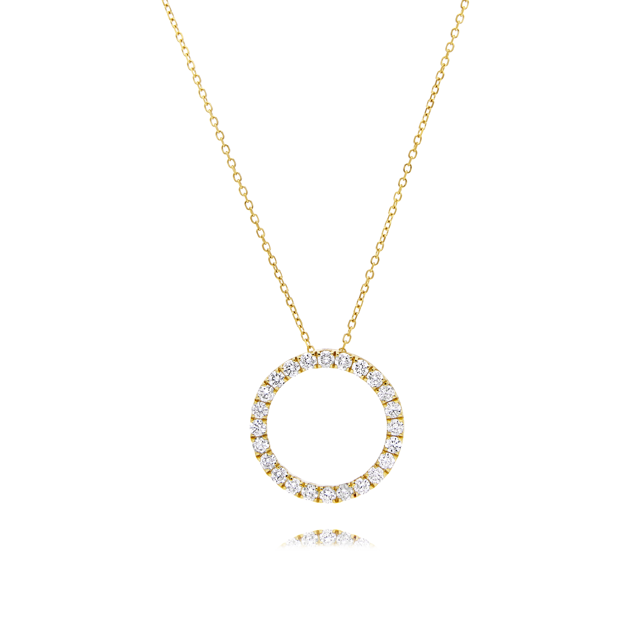 Diamond Circle Pendant Yellow Gold