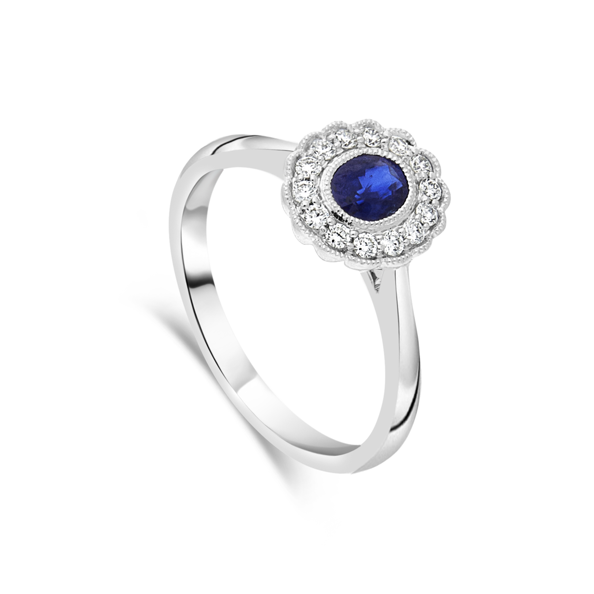 Sapphire and Diamond Cluster Ring, White Gold