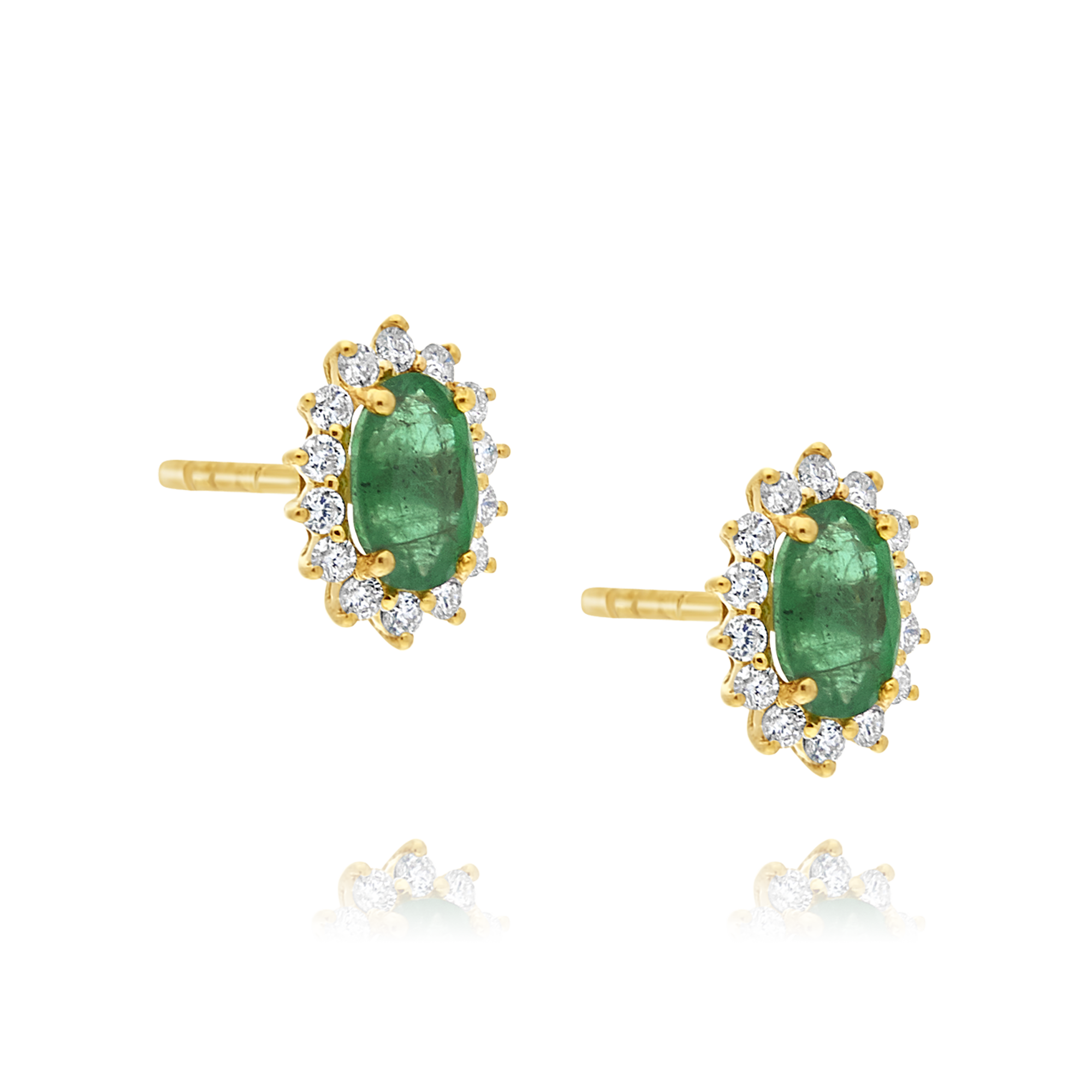 Emerald and Diamond Earrings, Yellow Gold