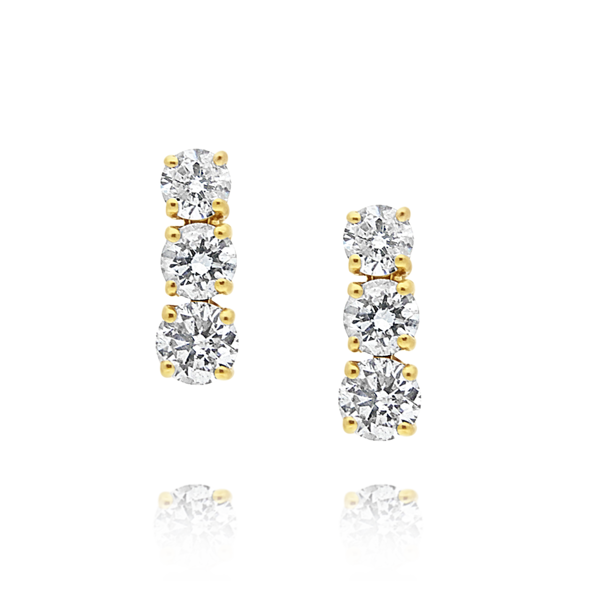 Trilogy Drop Diamond Earrings, Yellow Gold