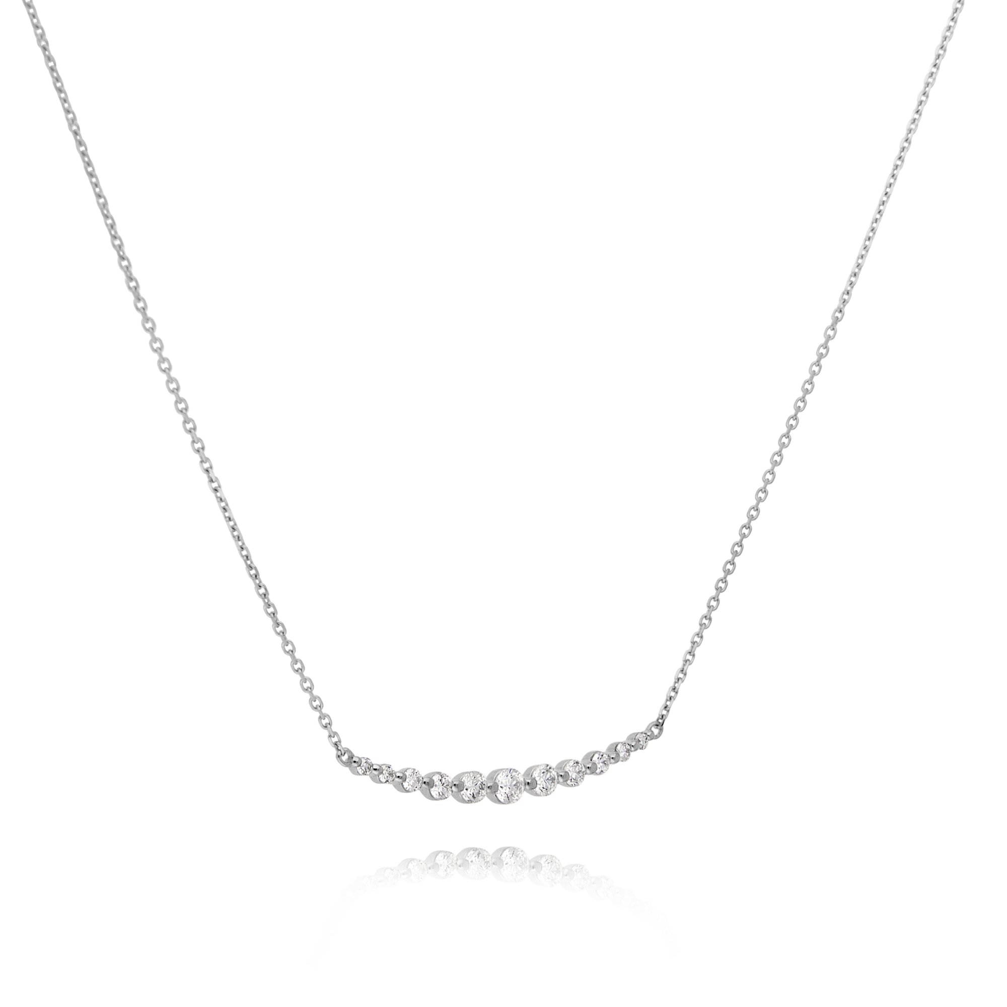 18ct White Gold Diamond Bar Necklace