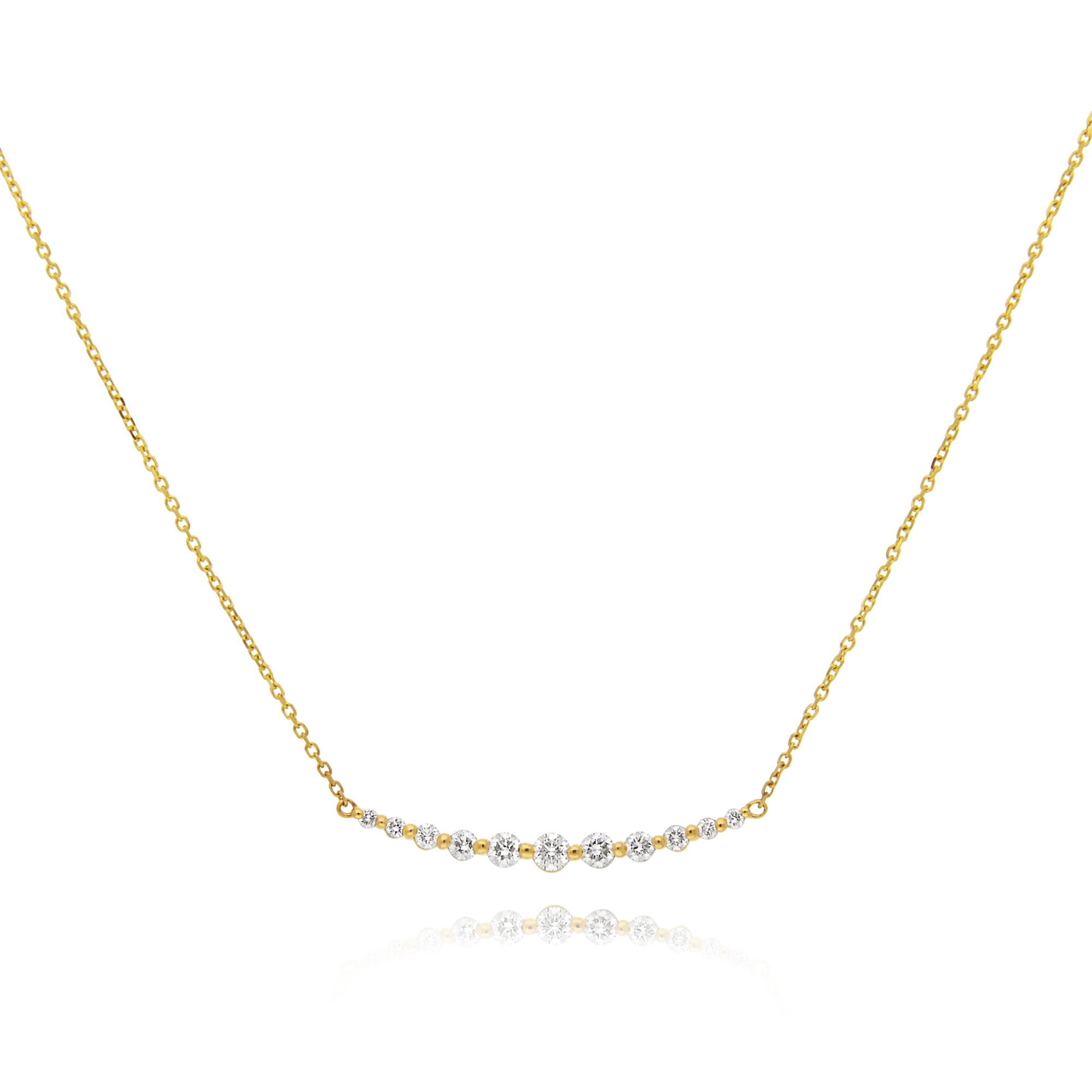 18ct Yellow Gold Diamond Bar Necklace