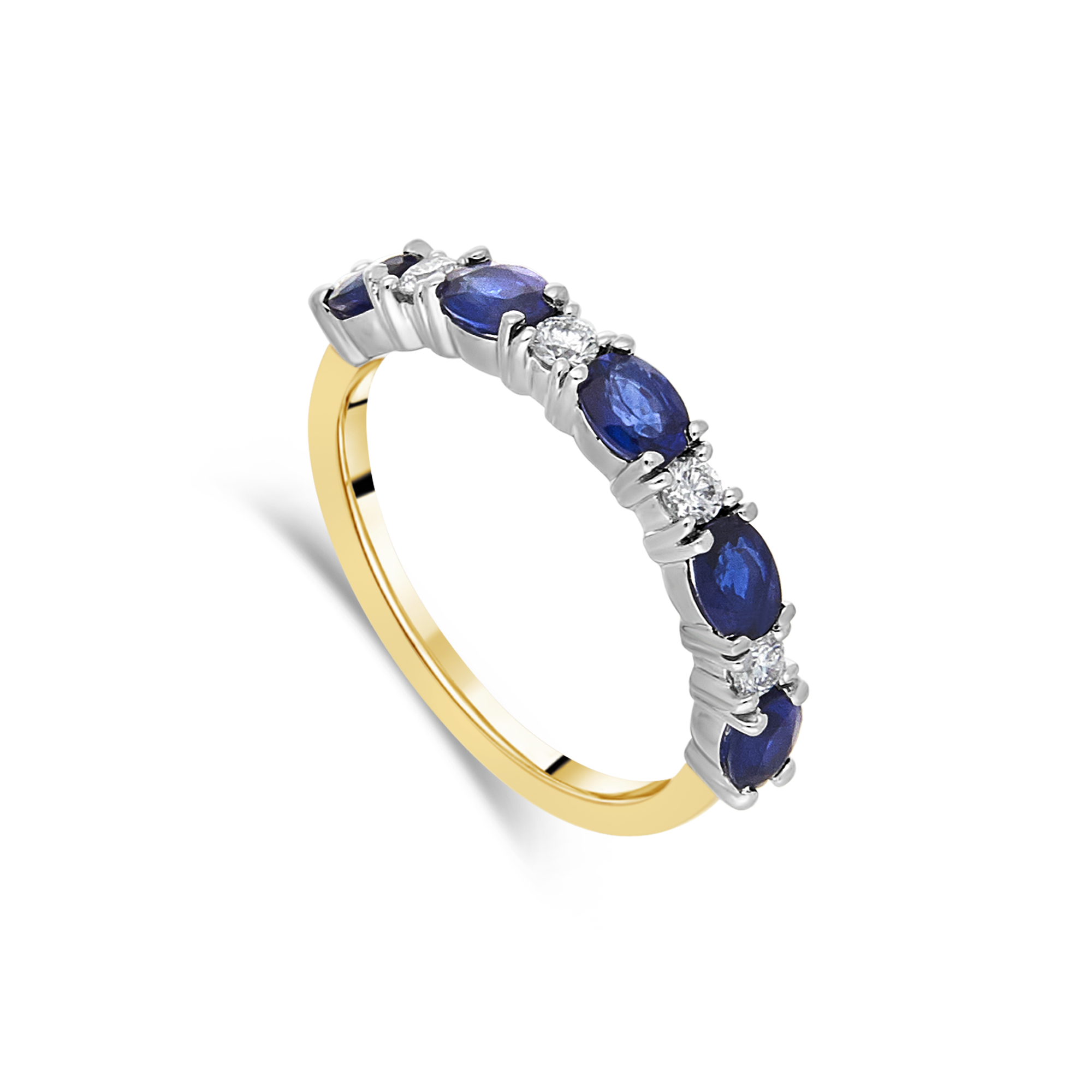 Sapphire and Diamond Band, Yellow Gold