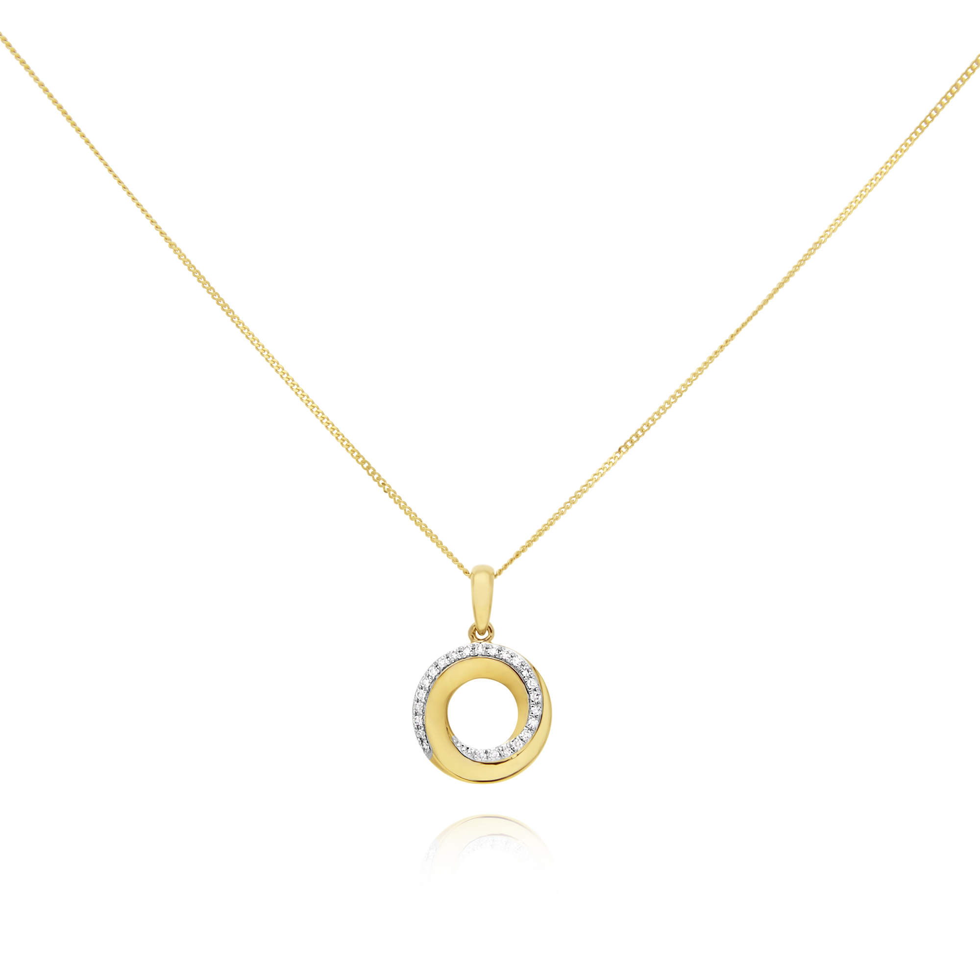Gold and Diamond Twist Circle Pendant