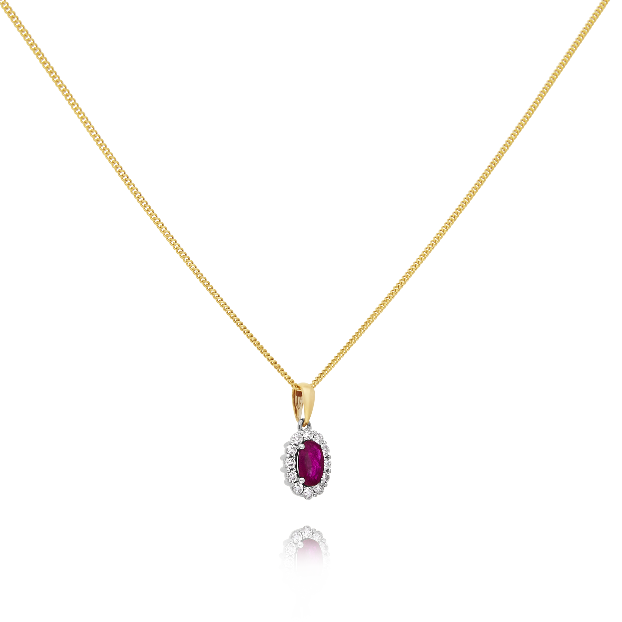 Ruby and Diamond Pendant, Yellow Gold