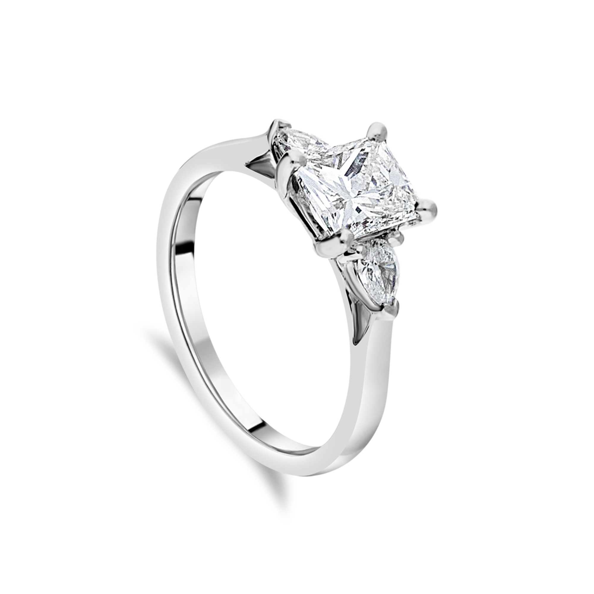 "The ""Tranquility"" with Princess Cut Diamond, Platinum"