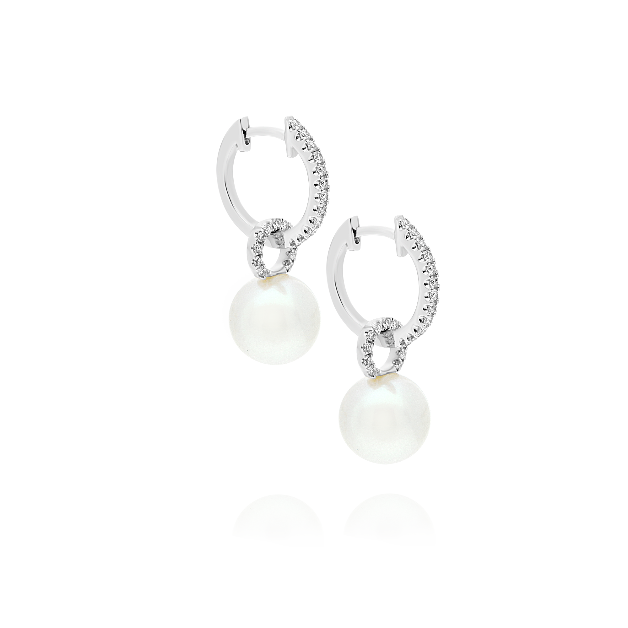 Akoya Pearl and Diamond Hoop Style Drop Earrings