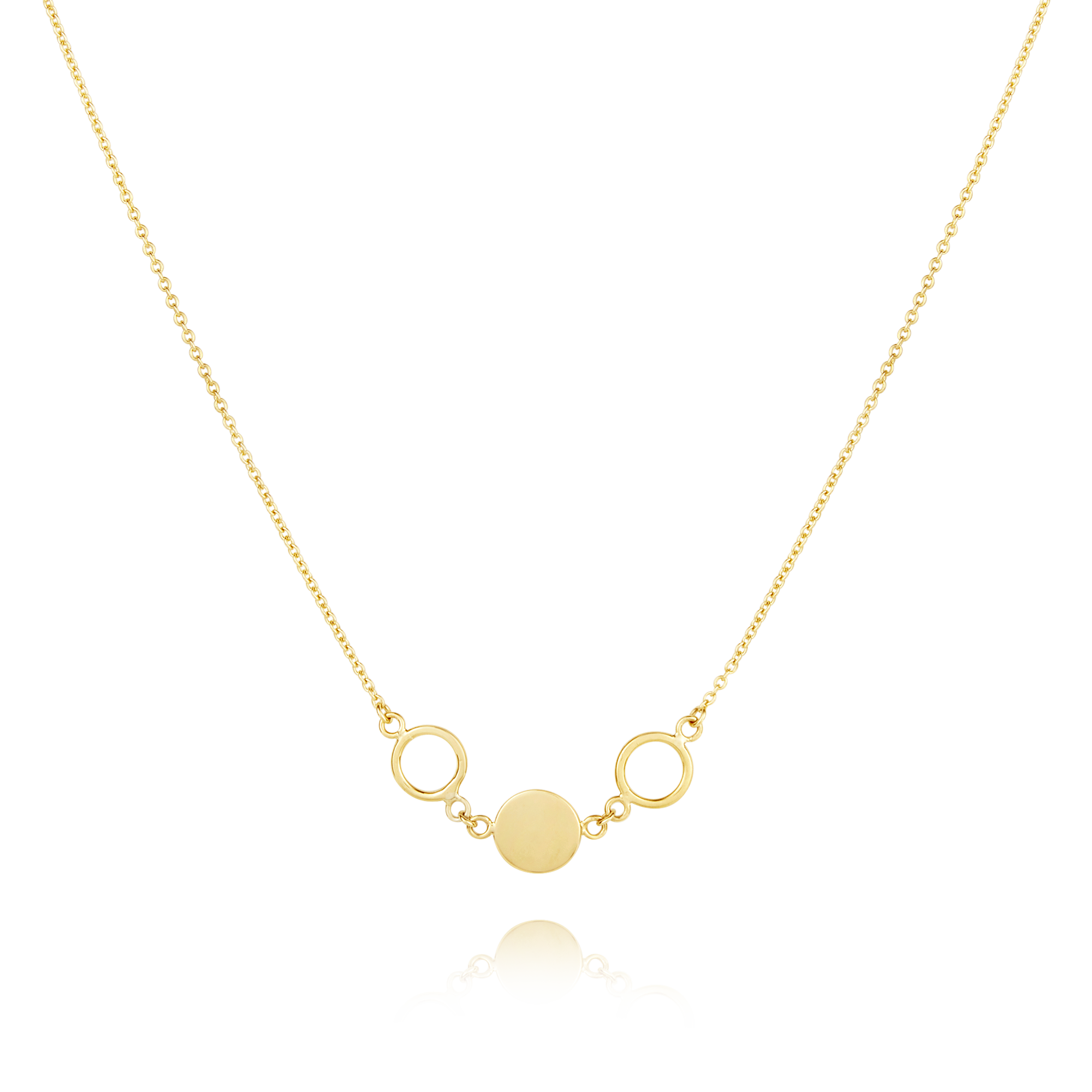 9ct Circle and Disc Necklace