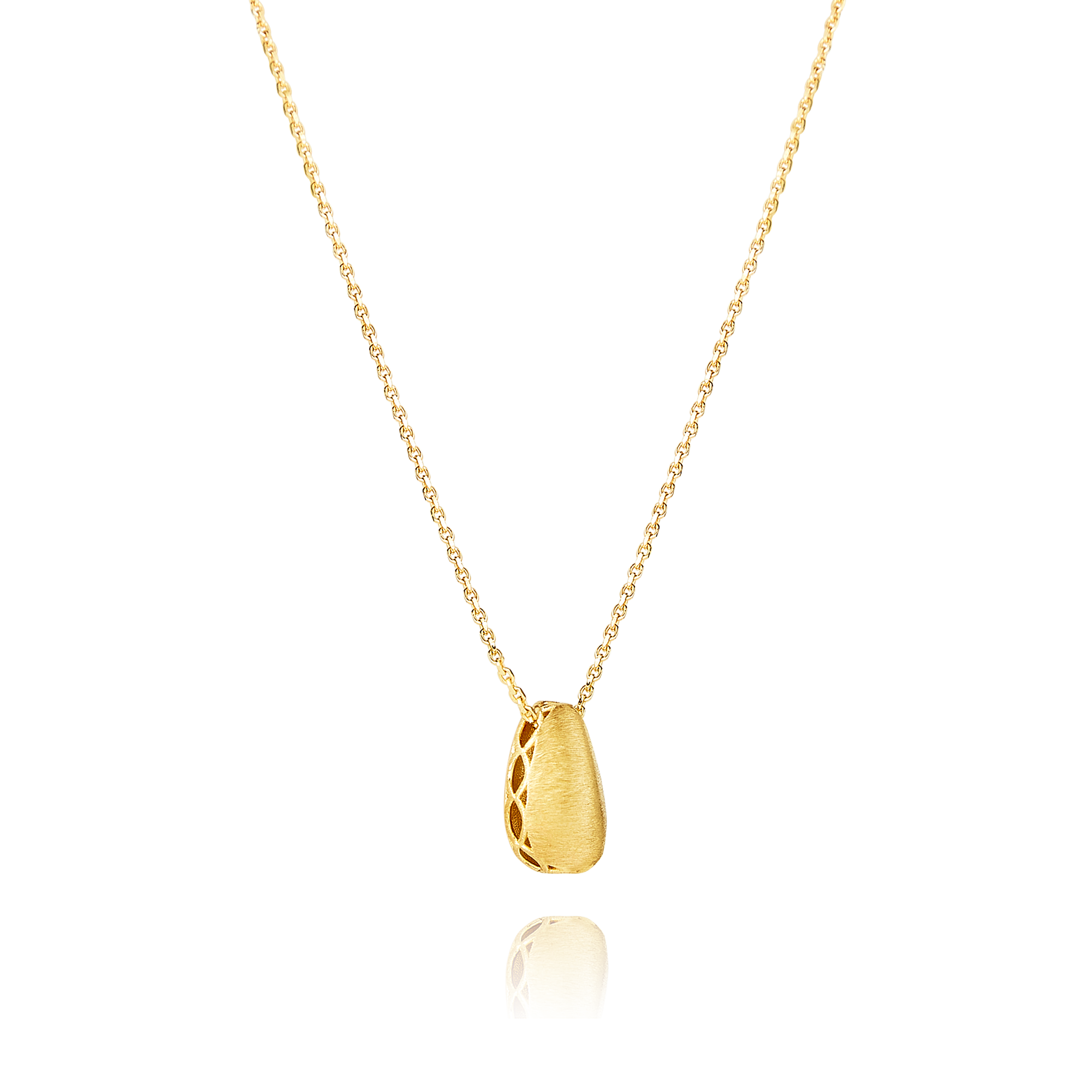 14ct Brushed Gold Nugget Pendant