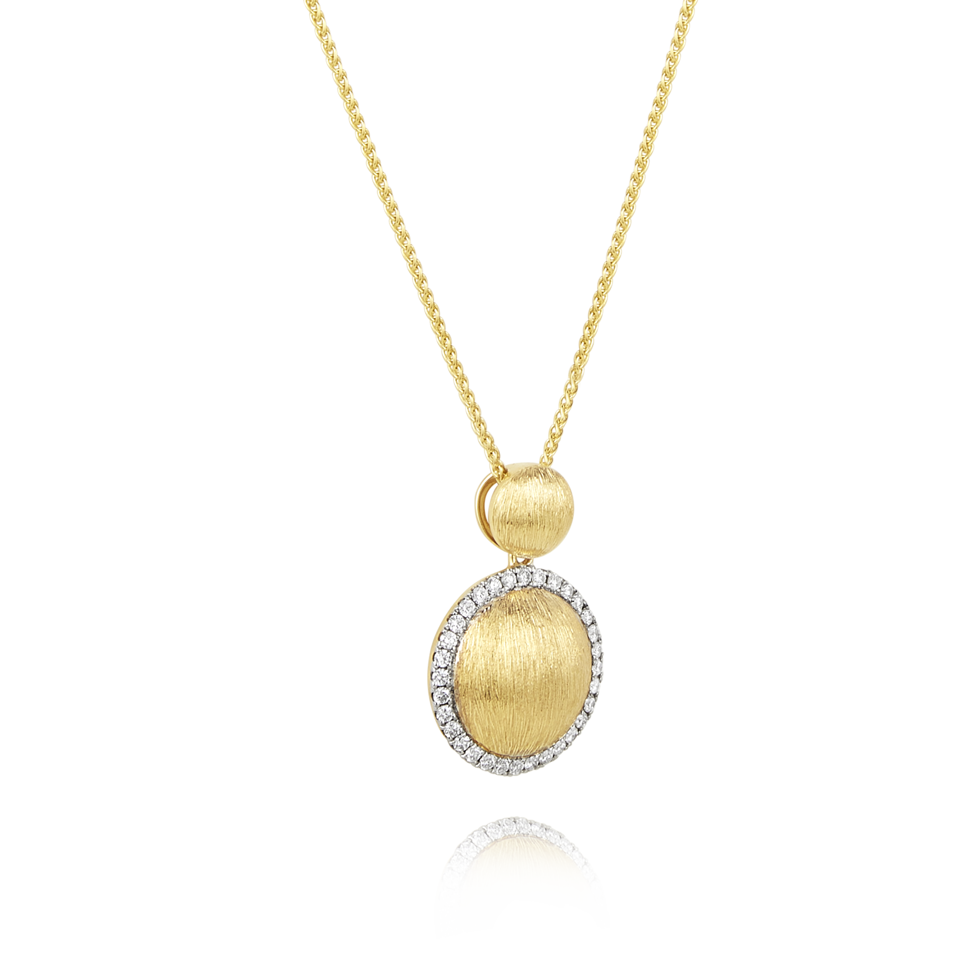 18ct Brushed Gold and Diamond Pendant