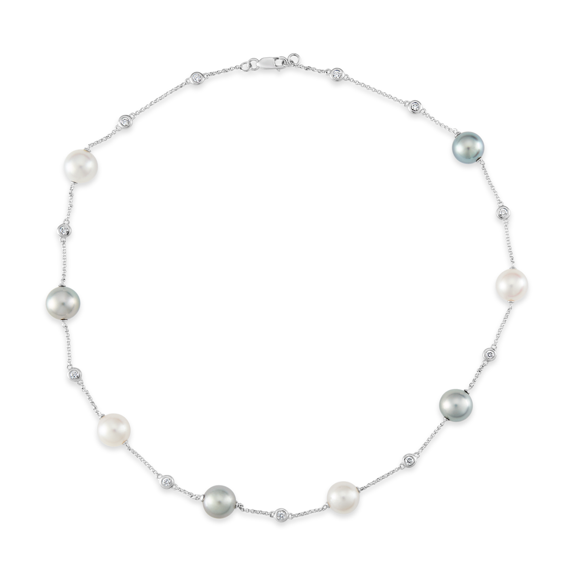 Diamond, Tahitian and White Pearl Necklace