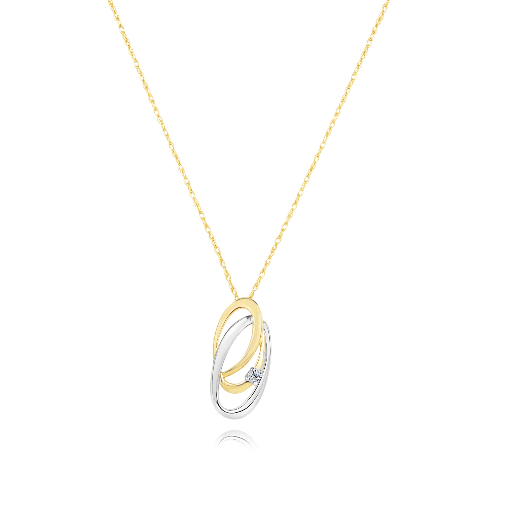 9ct Two Tone Diamond Pendant